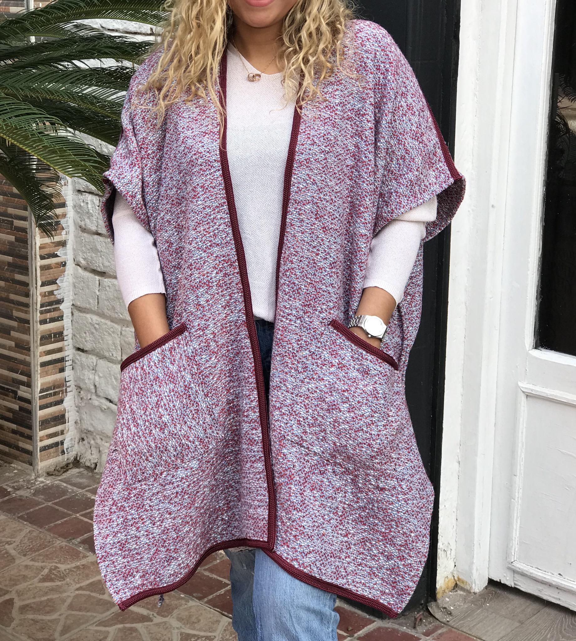 Kimono tweed light blue & burgundy with sfifa burgundy