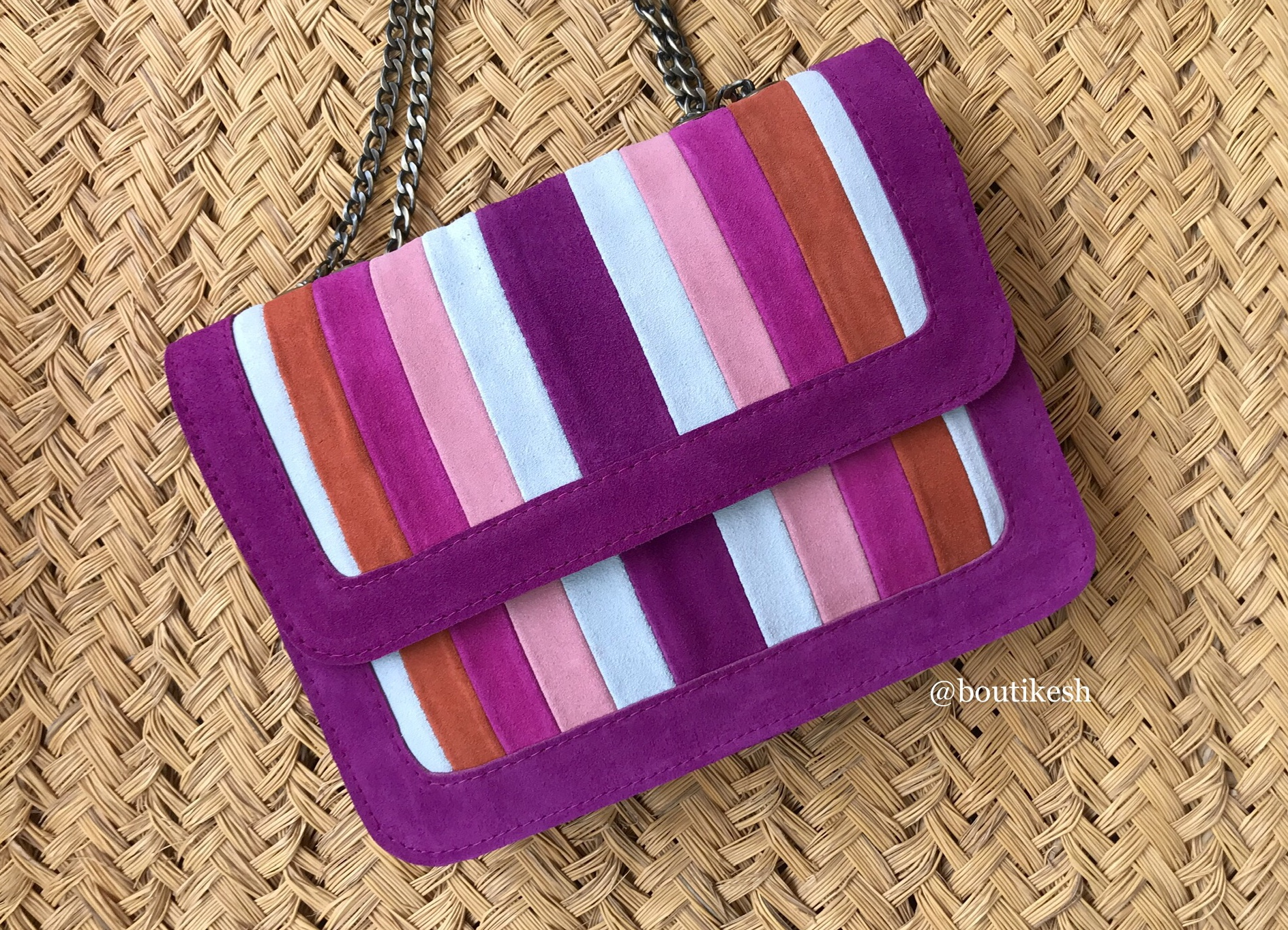 Handmade suedeleather Multi Color Orange pink