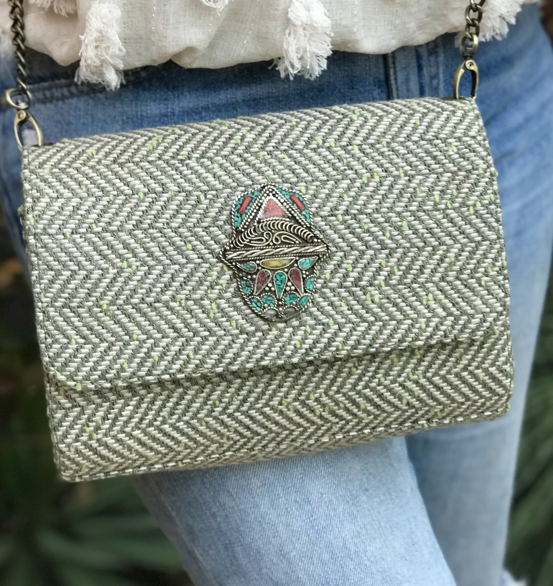 Bag tweed green beige with khmissa hand
