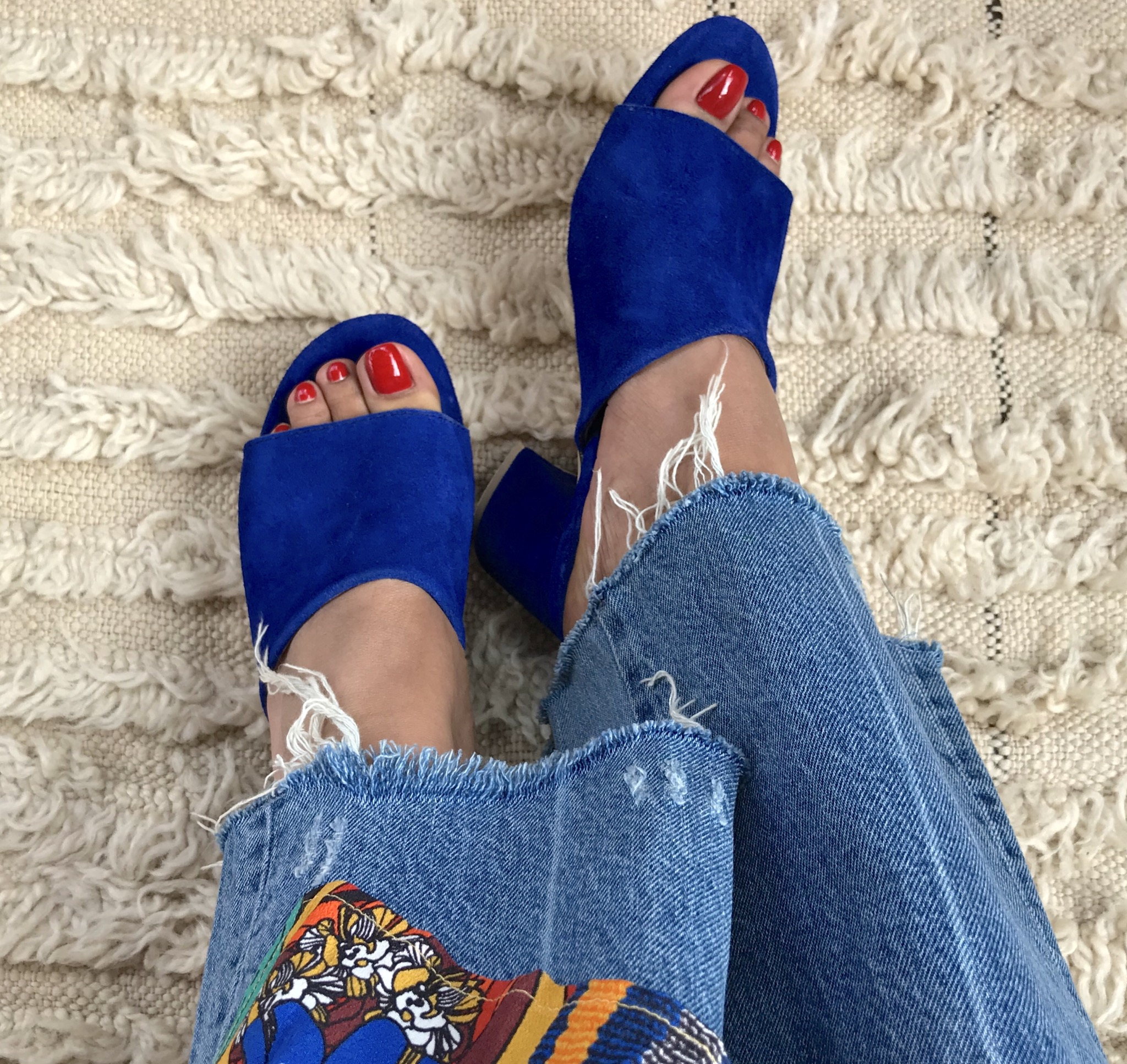 Sandals suede leather blue majorelle with heels