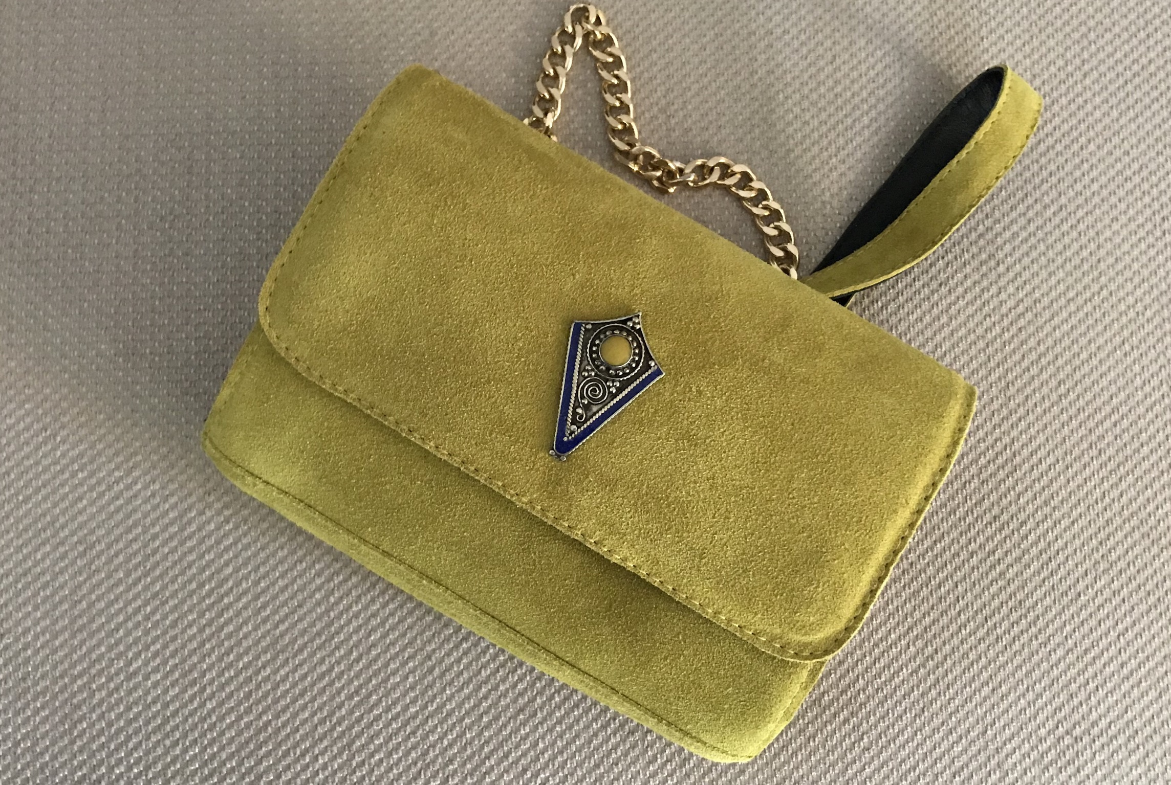 Jewelery bag suede leather yellow