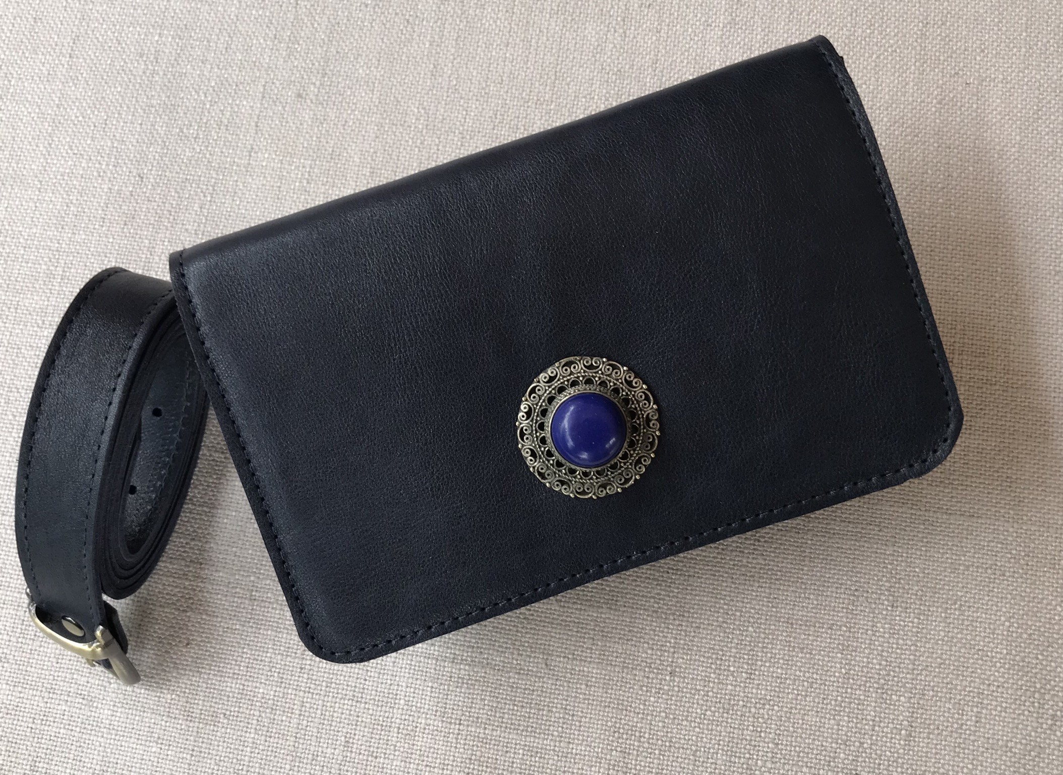 Beltbag leather blue navy with artisanal jewelry blue