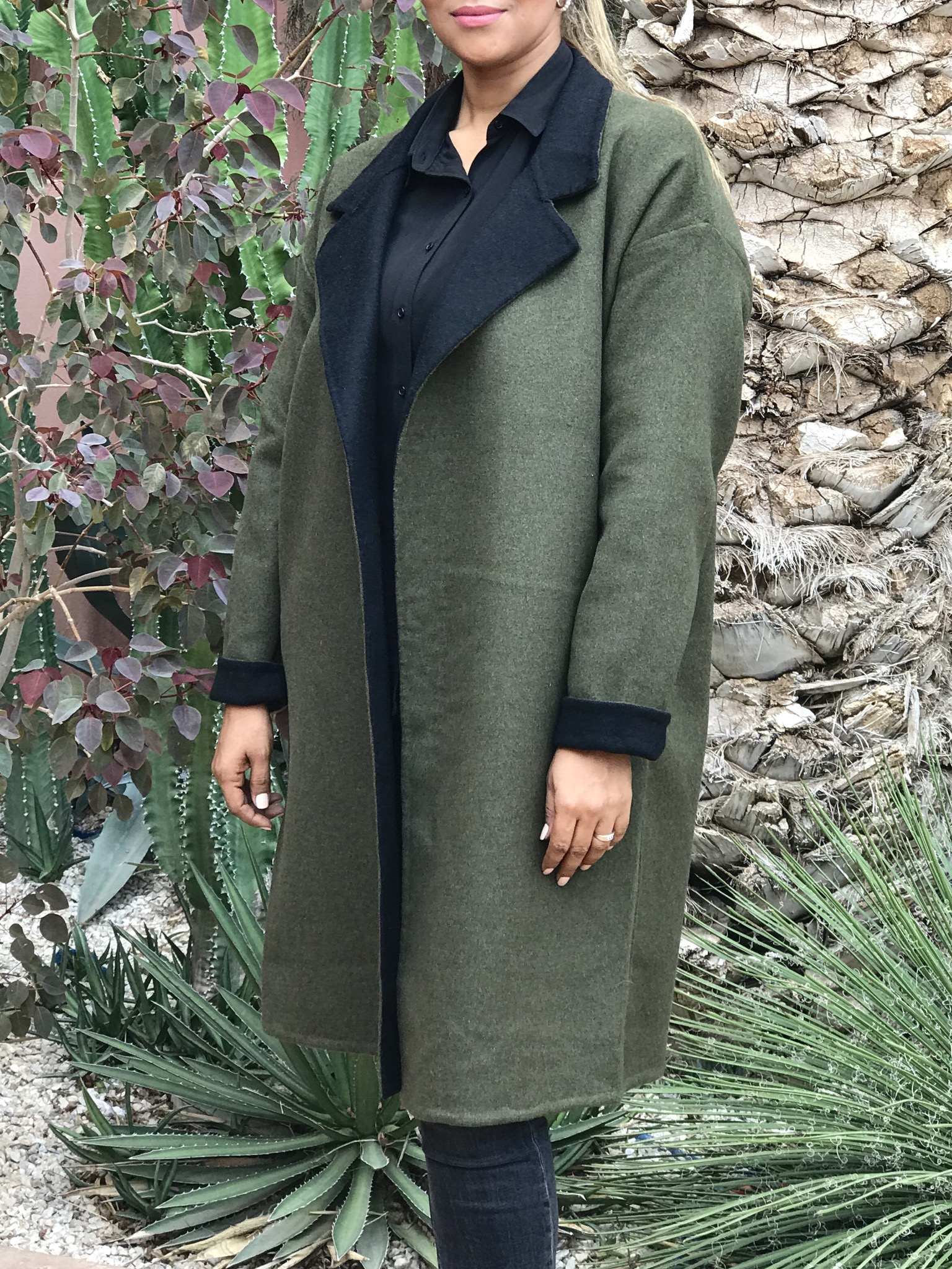 Coat khaki cashemire with zip & buttons