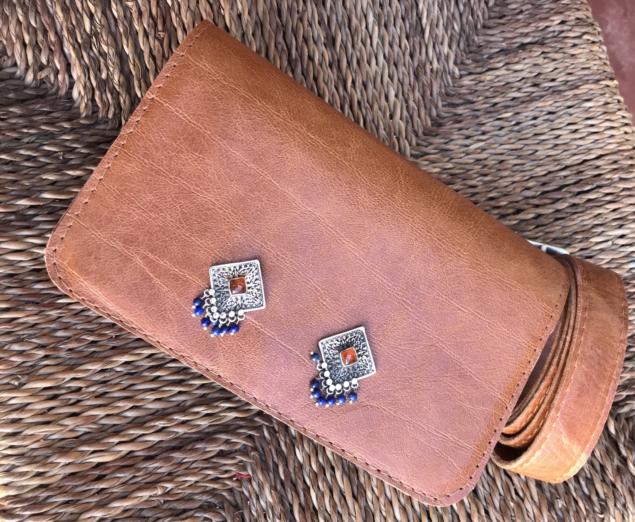 Belt Bag leather camel with jewelry