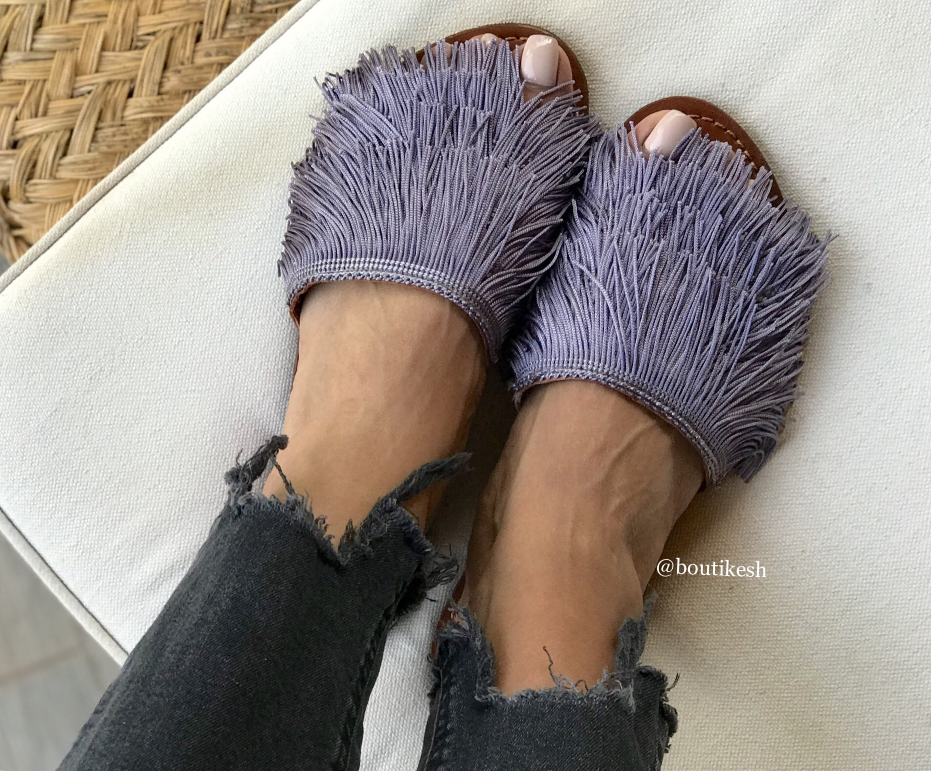 Sandals with fringes 'HDBA' grey