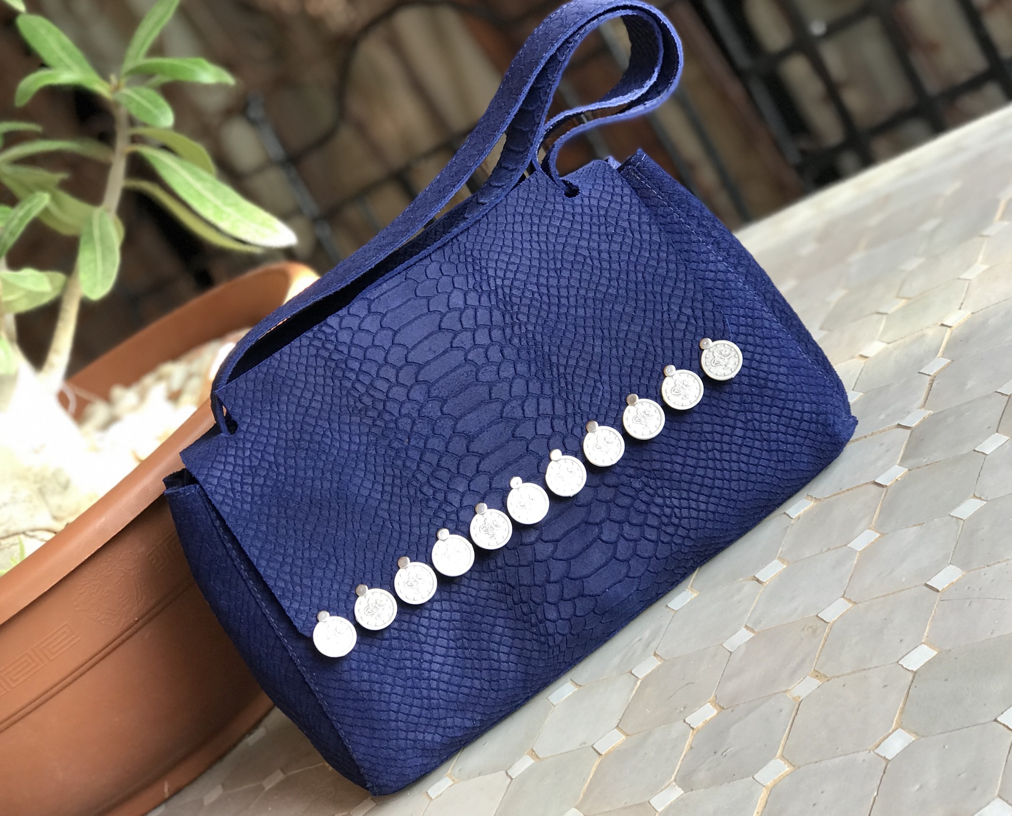 Bag suede leather blue majorelle medium size with coins