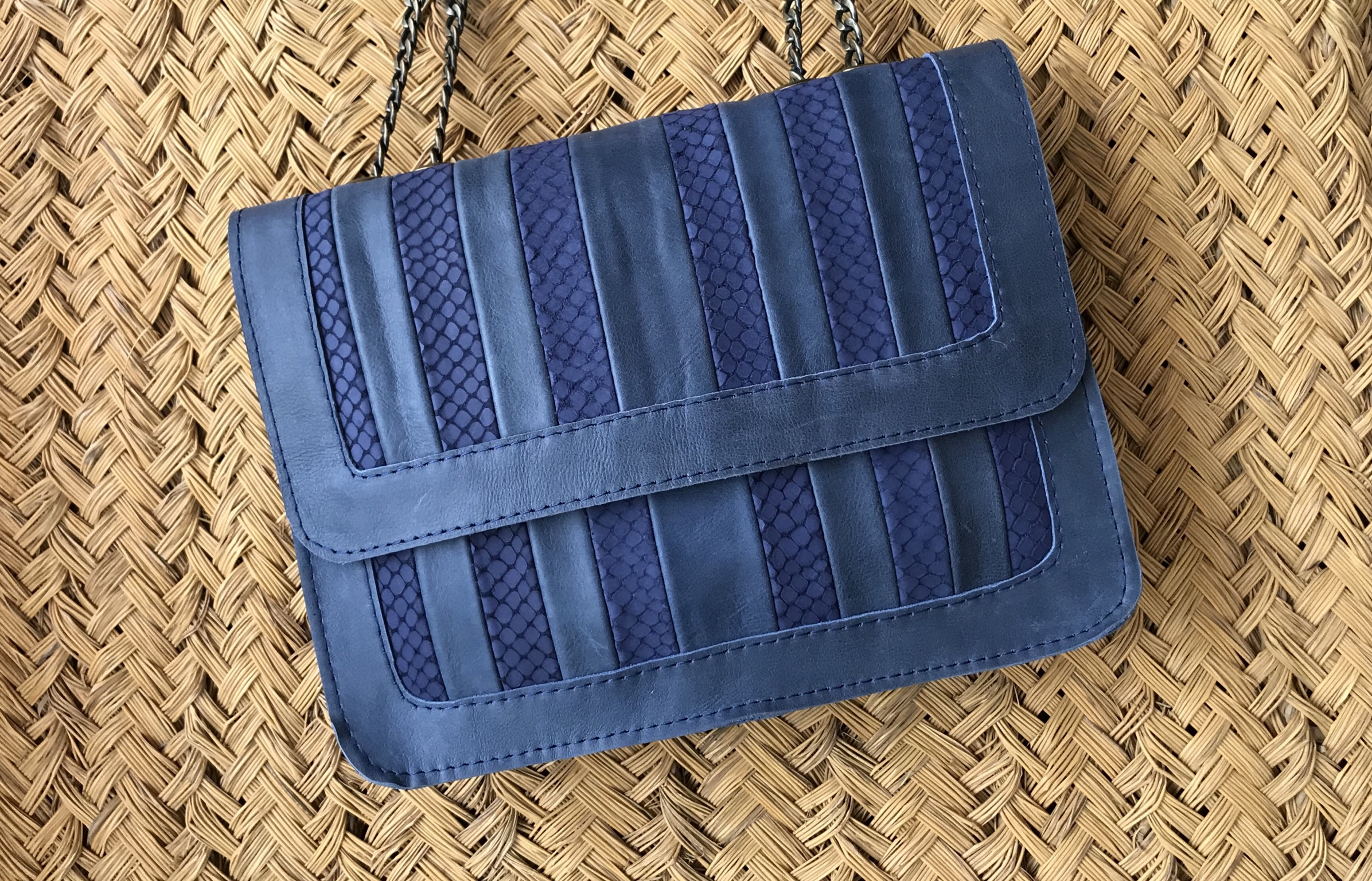 Bag leather multicolor blue
