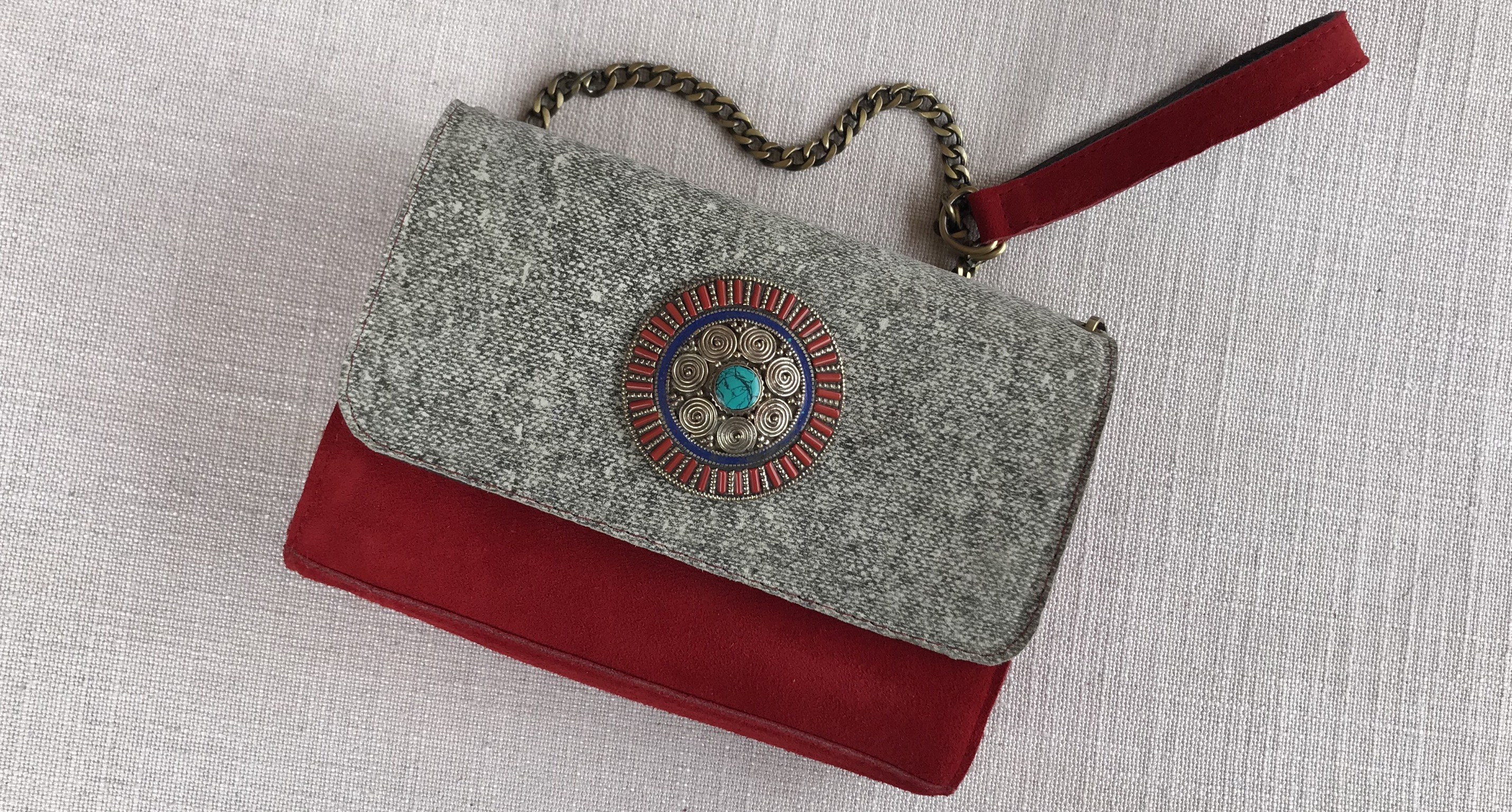 jewelry bag leather & suede leather grey red