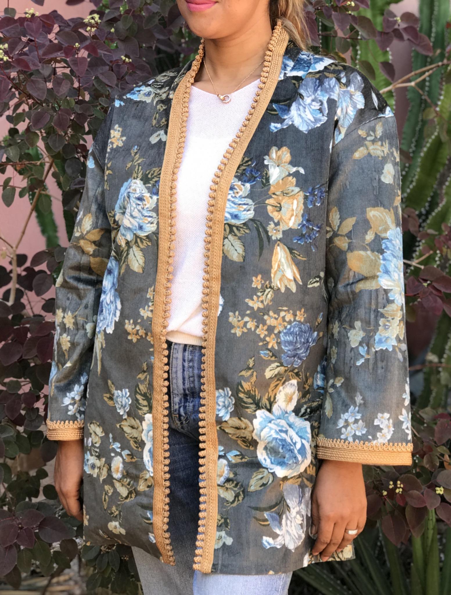 Jacket velvet with print flower grey blue mustard with Sfifa & aqadi