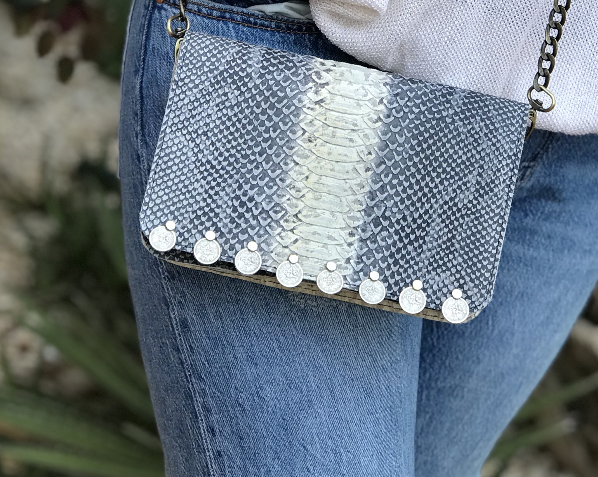 Bag mini leather croco blue white with coins