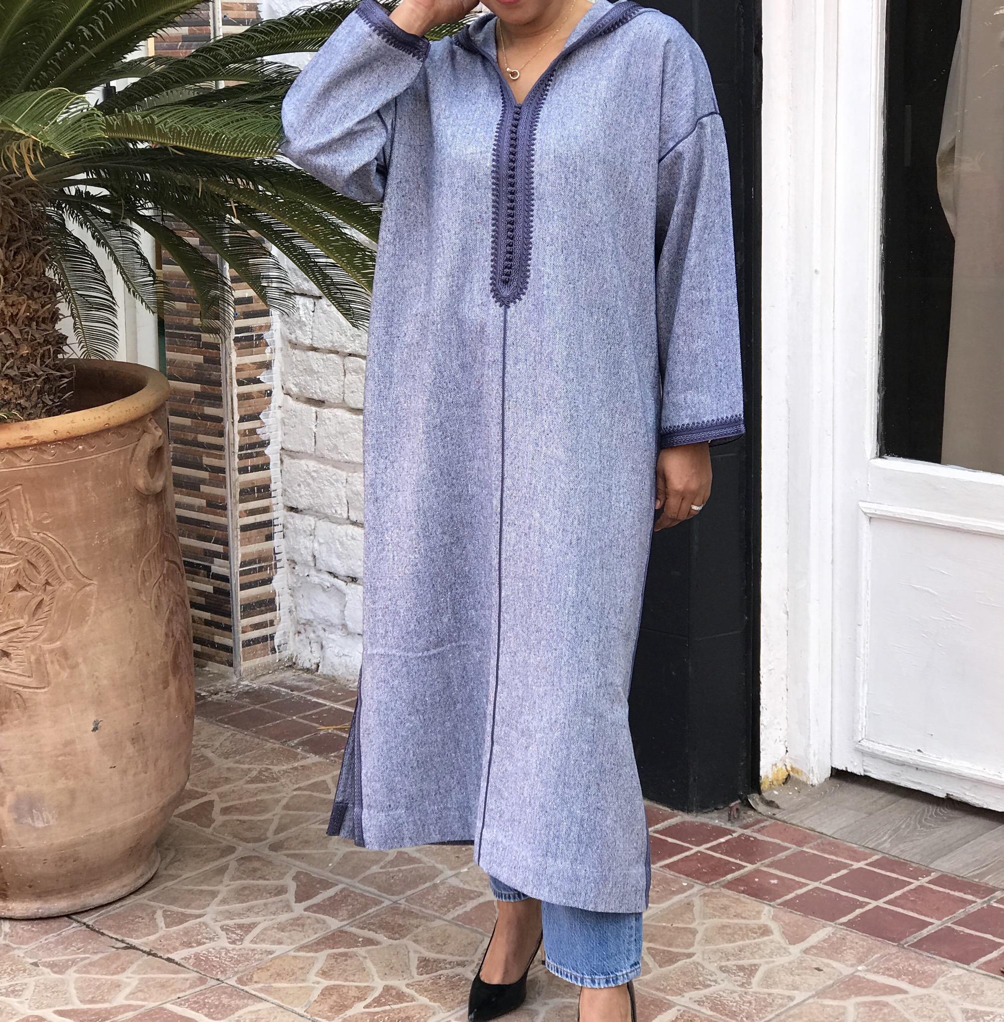 Djellaba tweed light blue with sfifa & debbana light blue