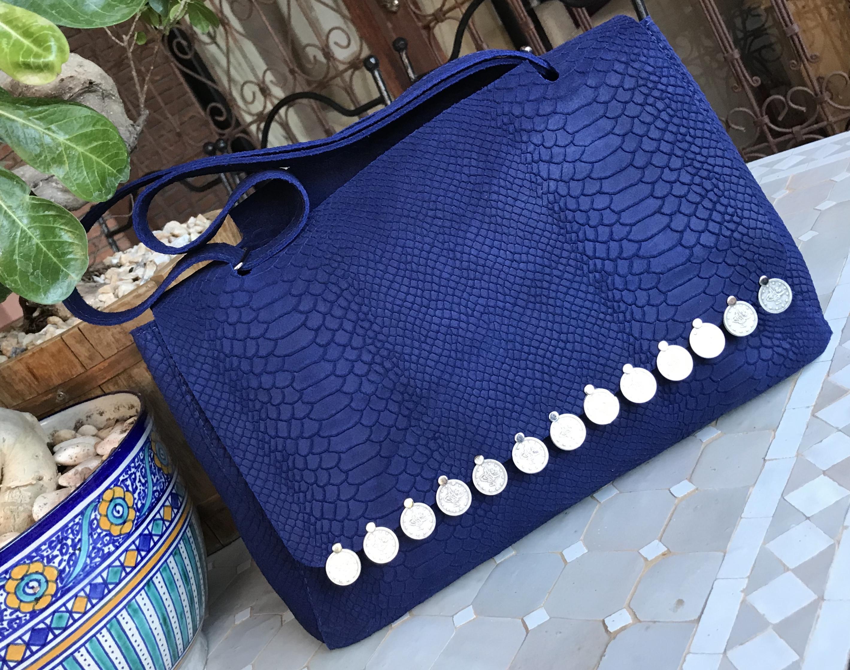 Bag leather croco bleu majorelle with coins