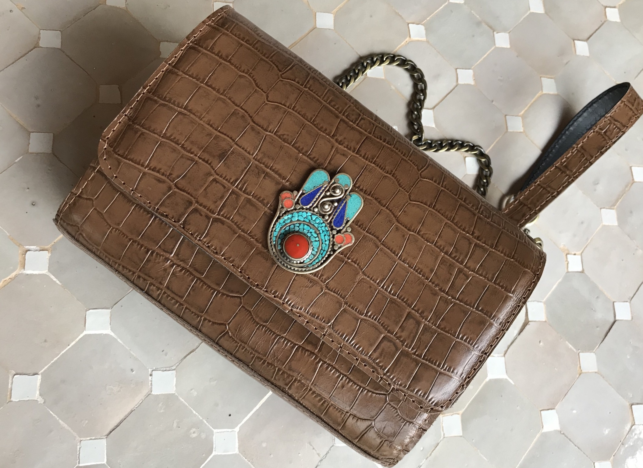 jewelry bag leather camel brown