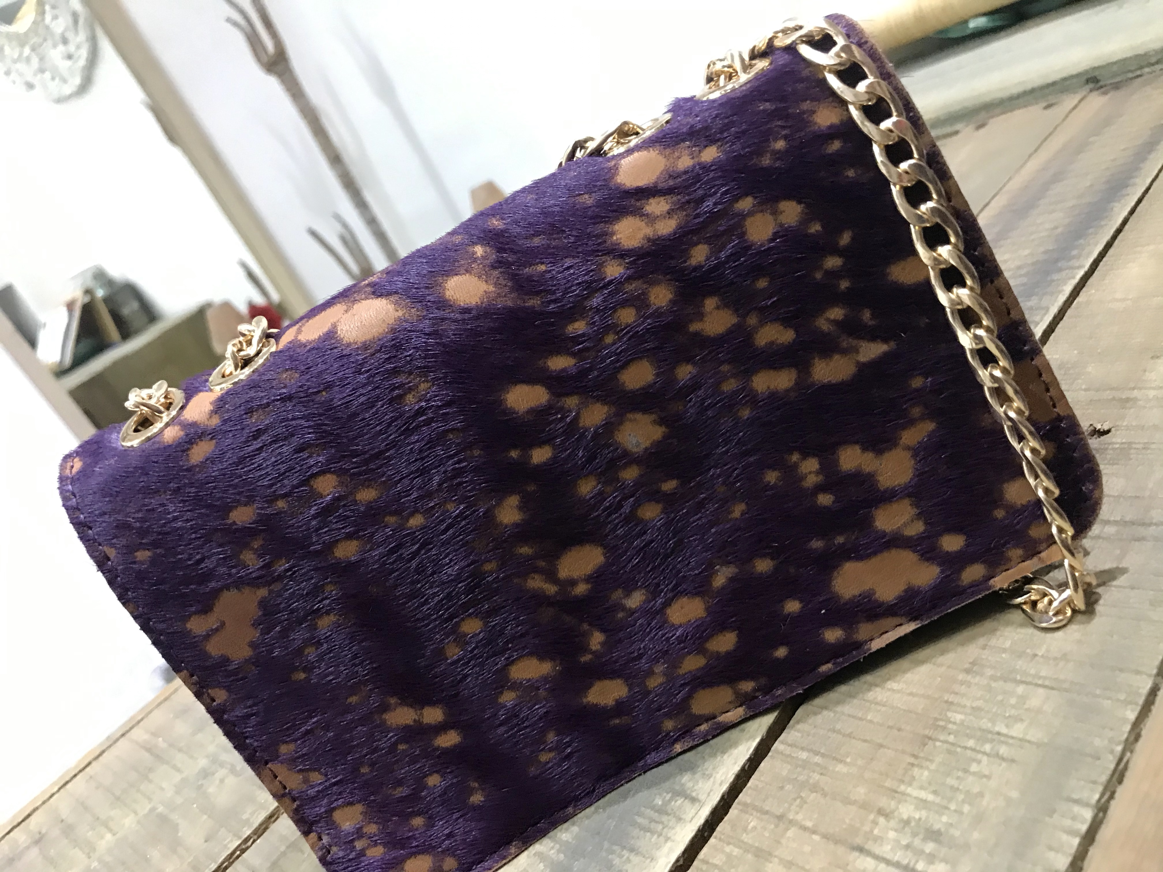 Mini bag hairy leather purple camel with gold chain