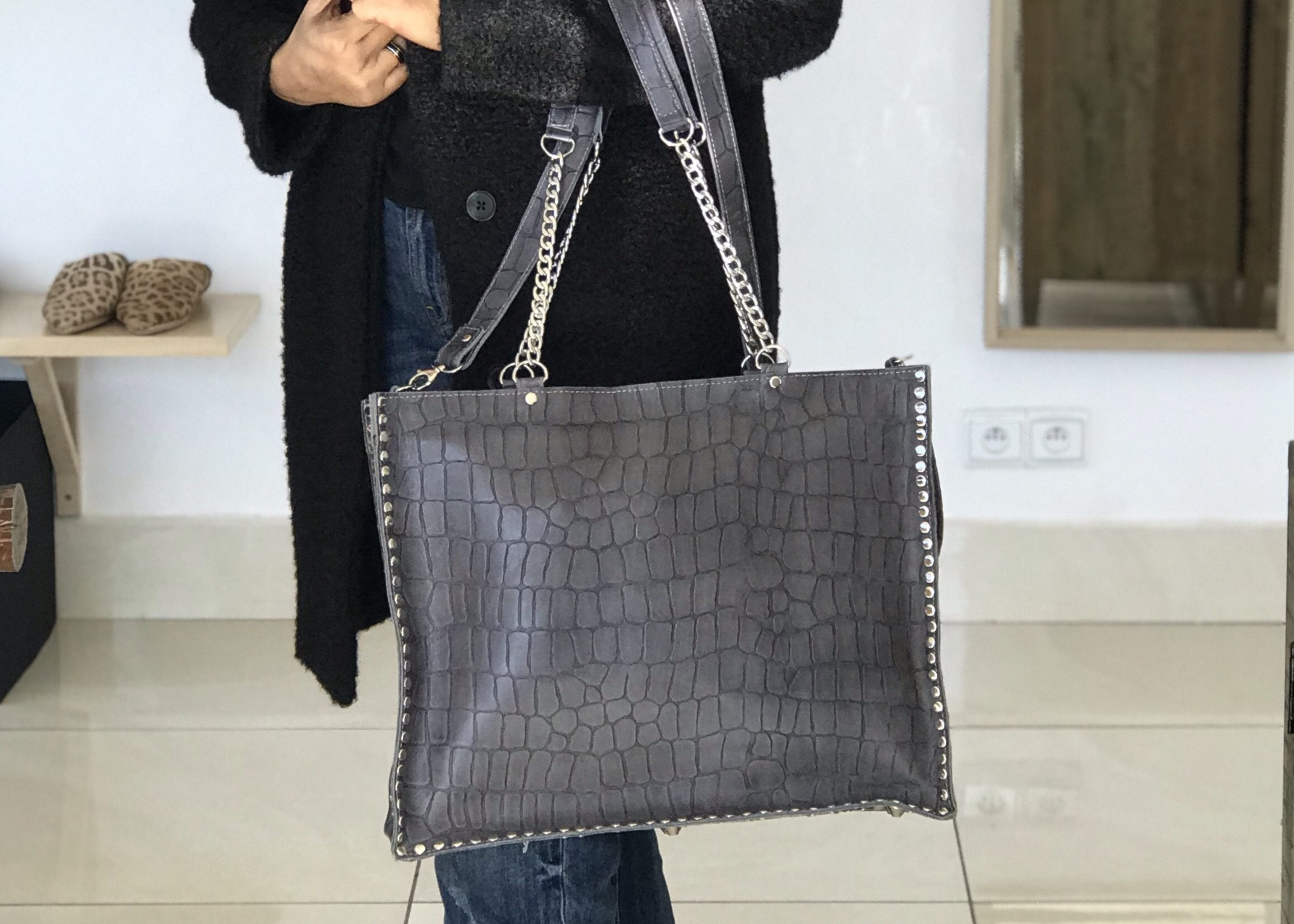 Big bag cabas leather croco grey studded