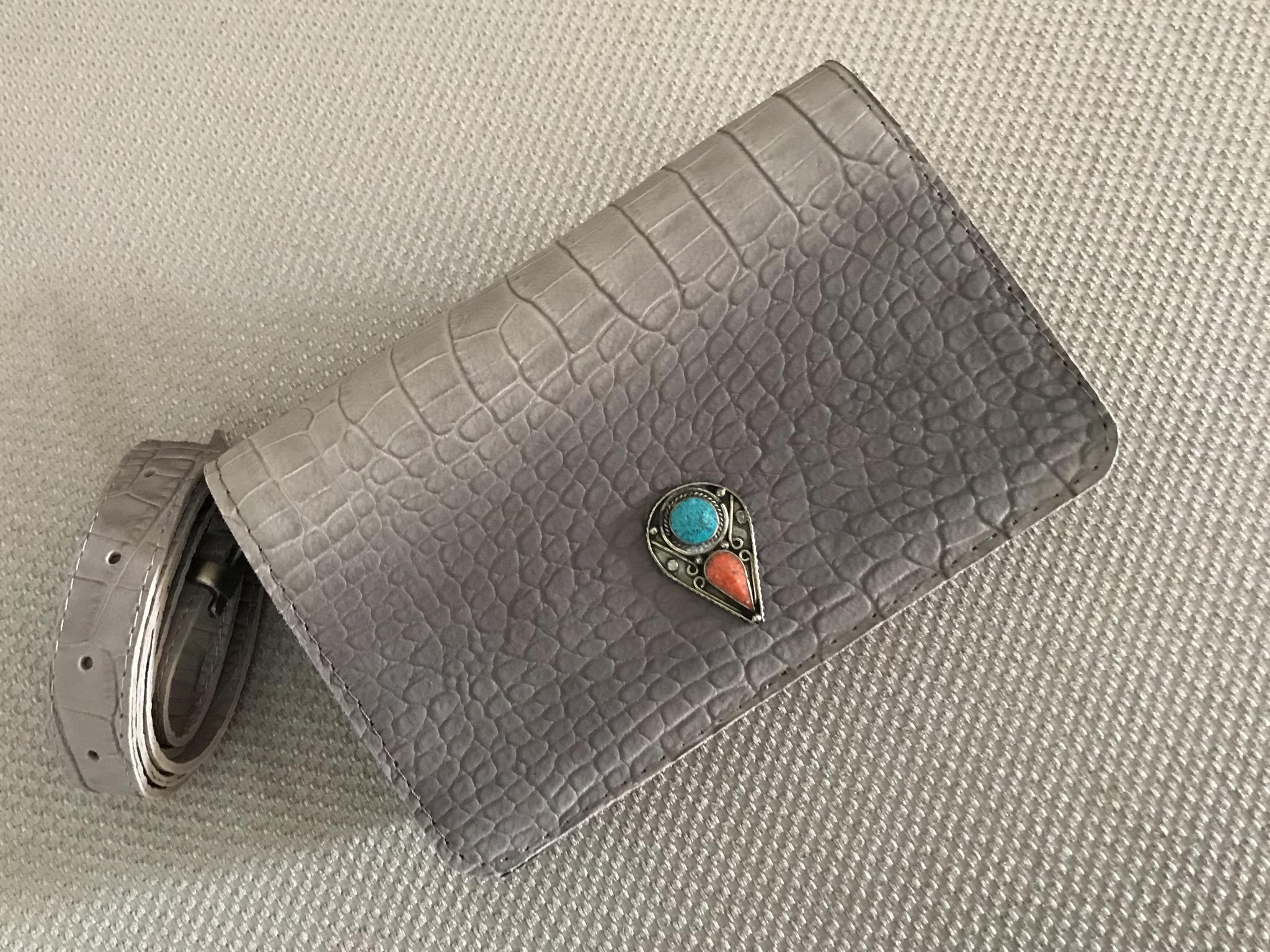 Beltbag Leather Blue grey