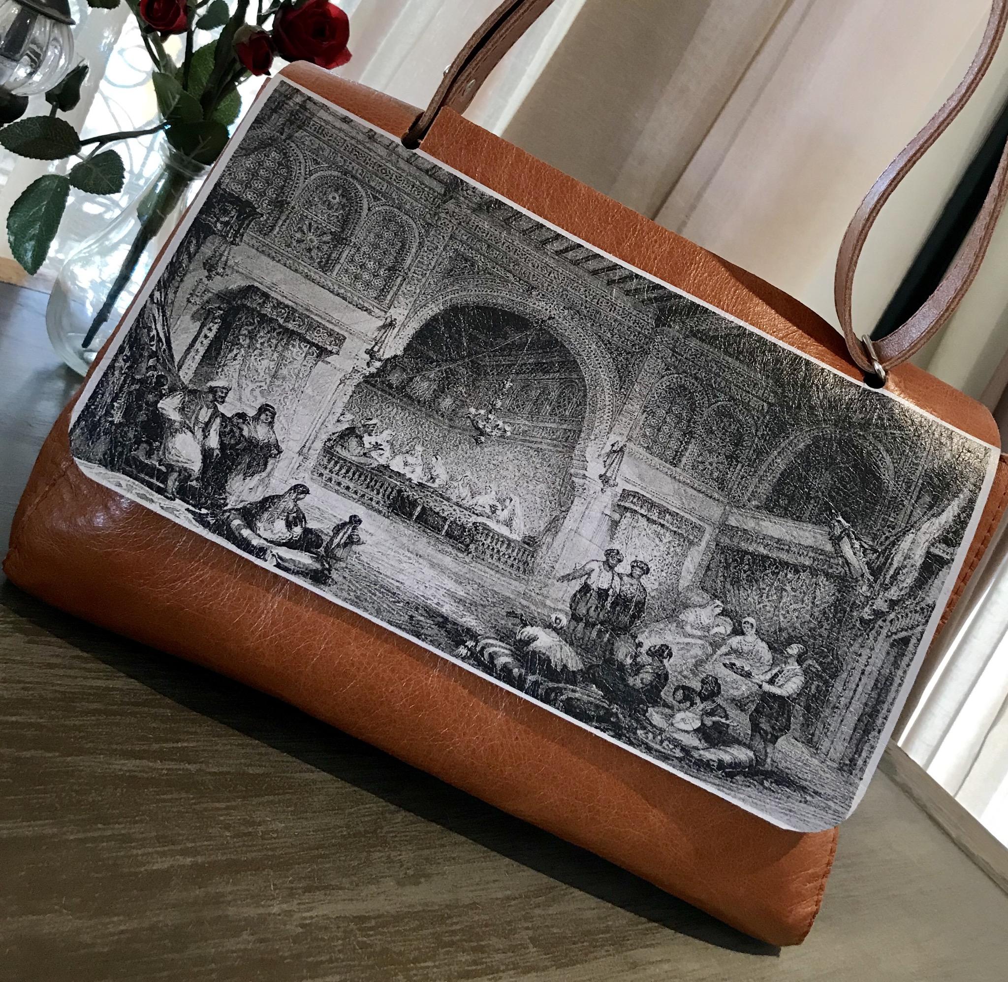 Big leather bag printed old Morocco