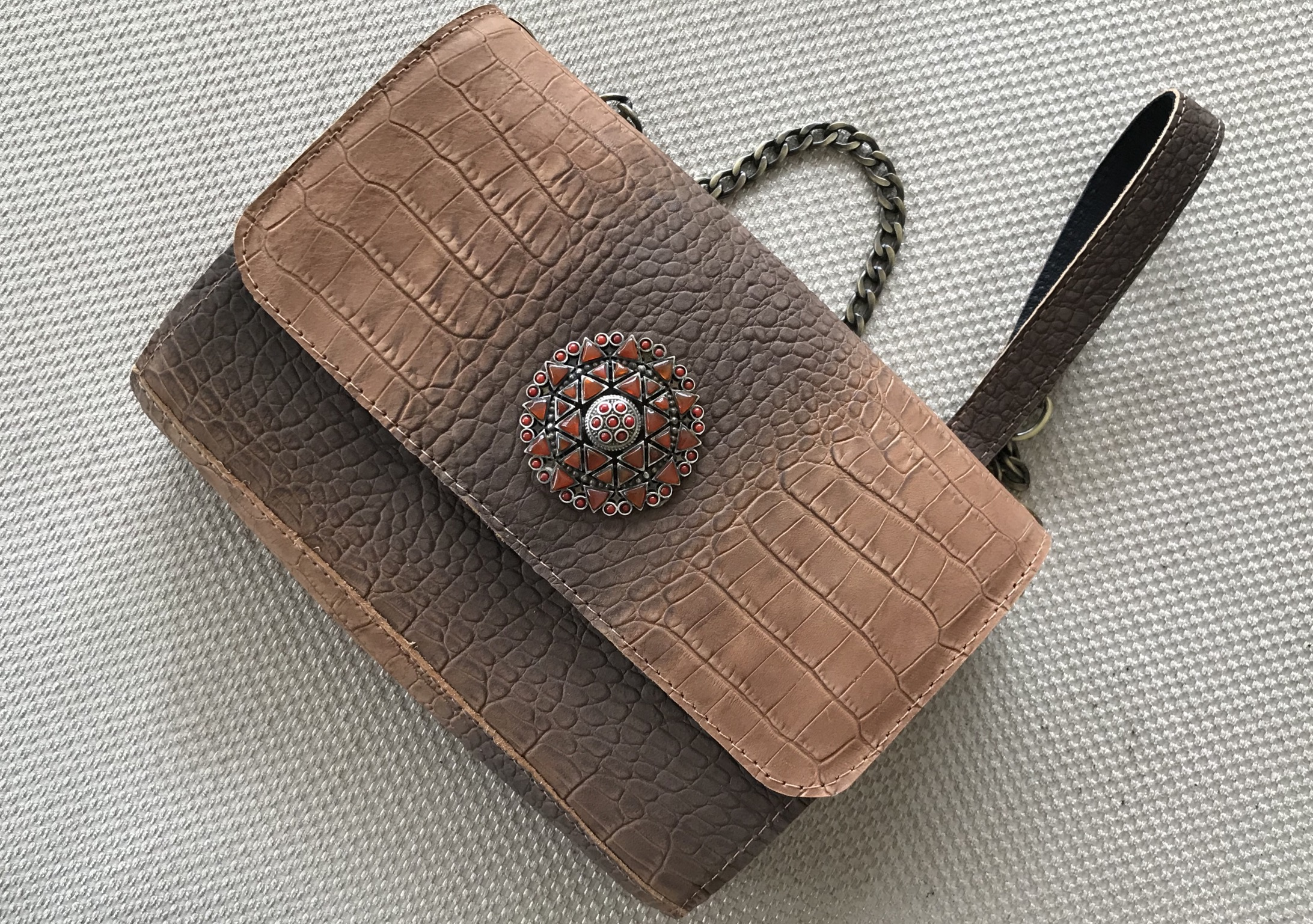 Jewelry bag leather croco brown
