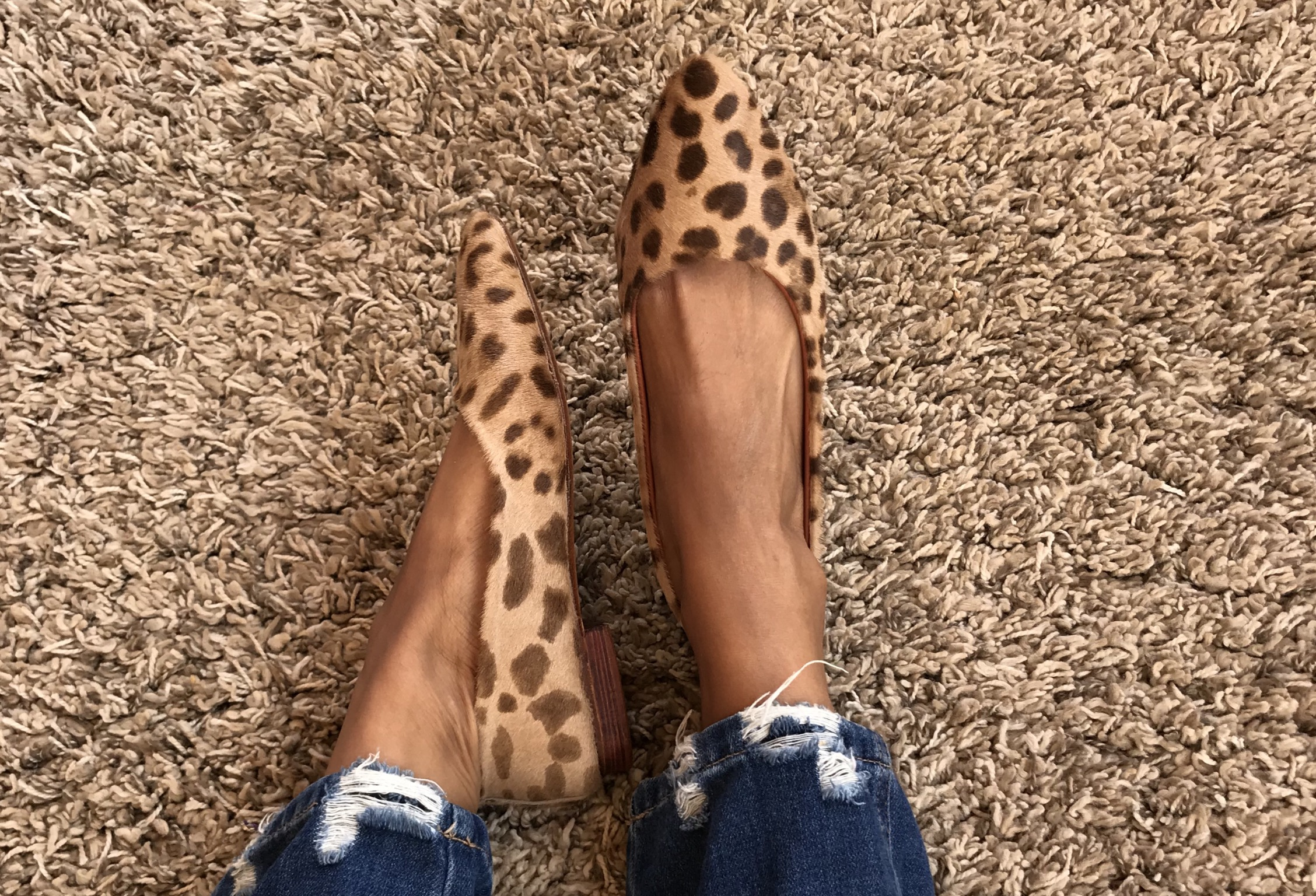 Ballerinas hairy leather print animal leopard