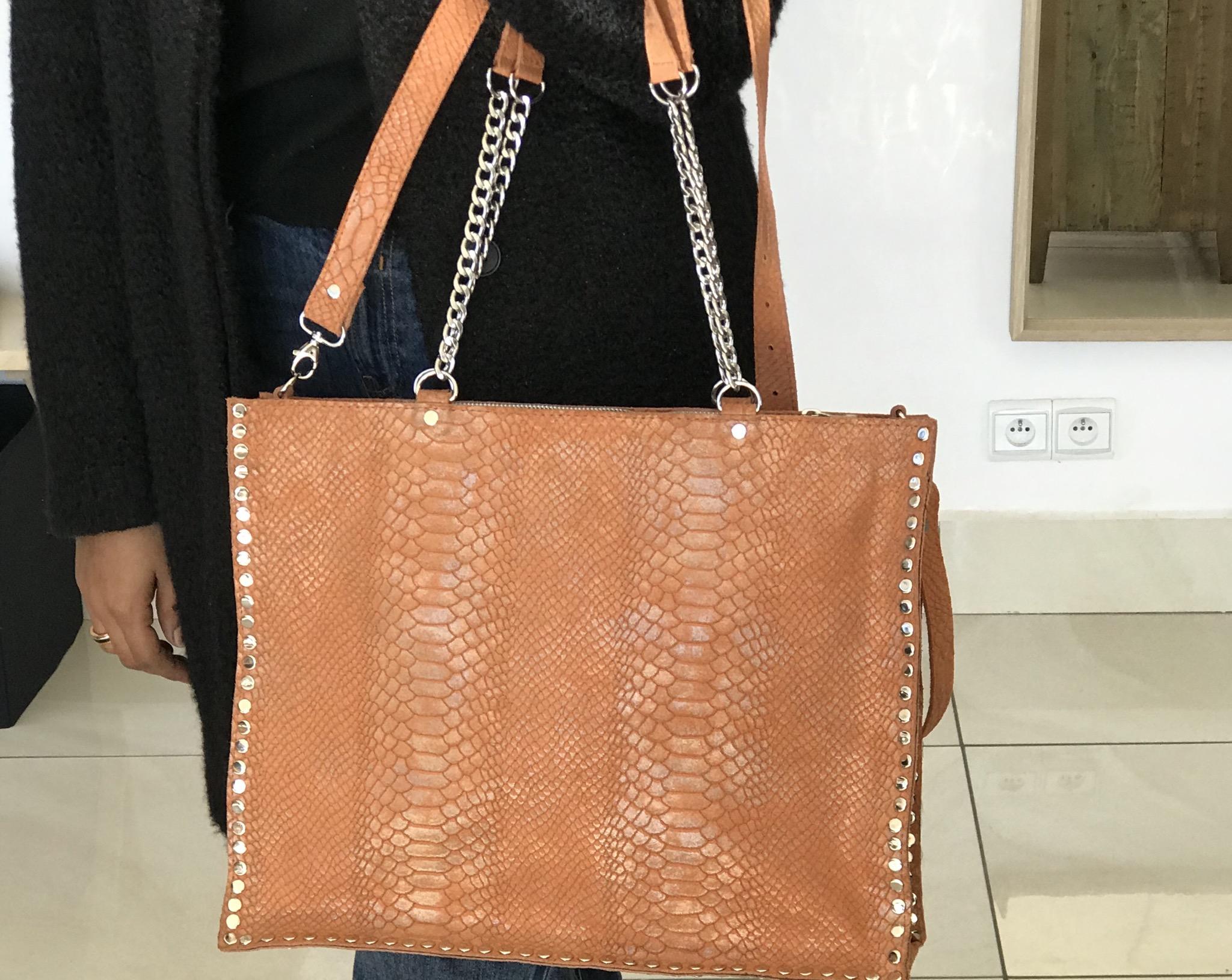 Big bag cabas leather orange silver studded