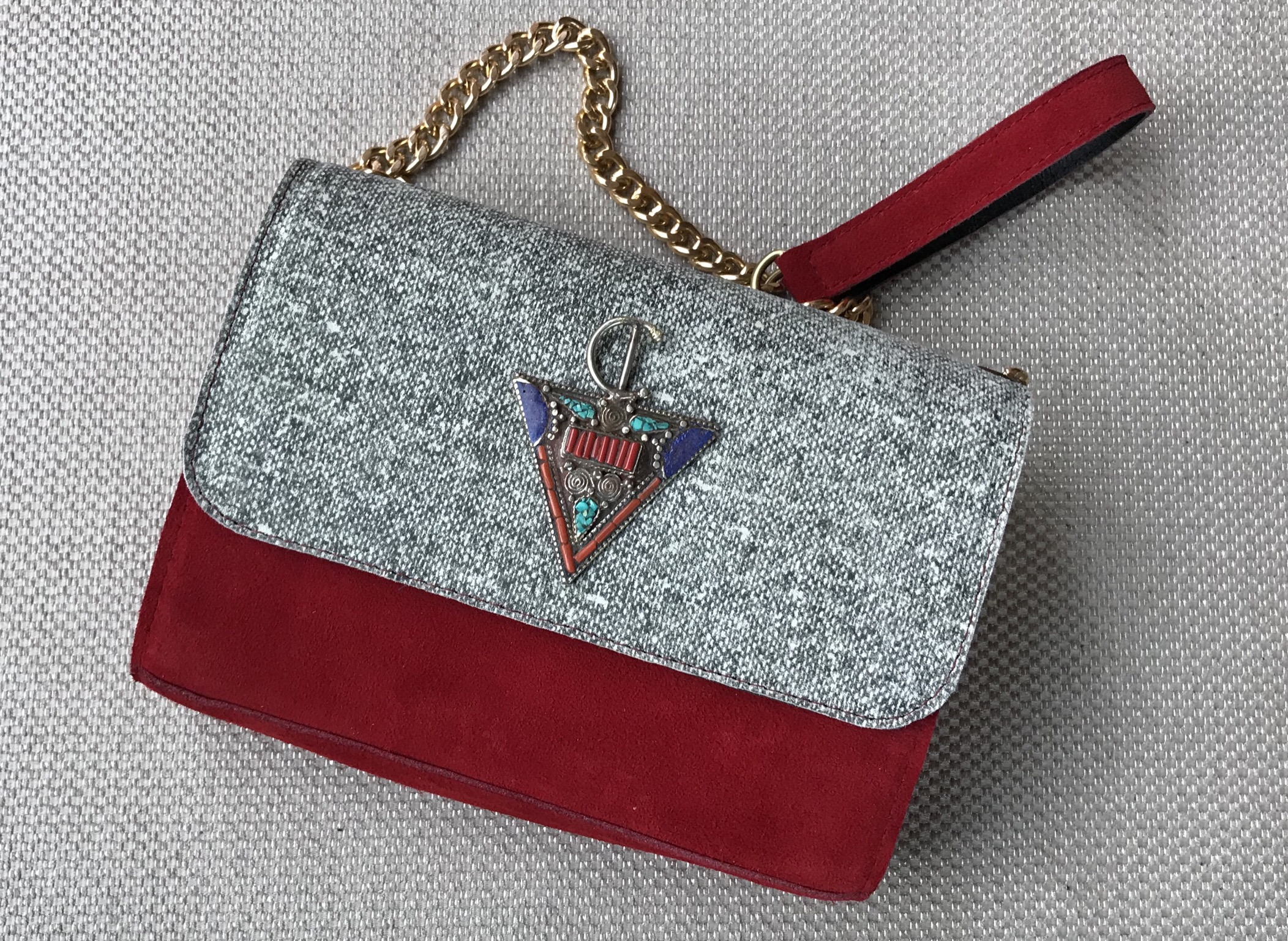 Jewelry bag suede leather & leather red grey