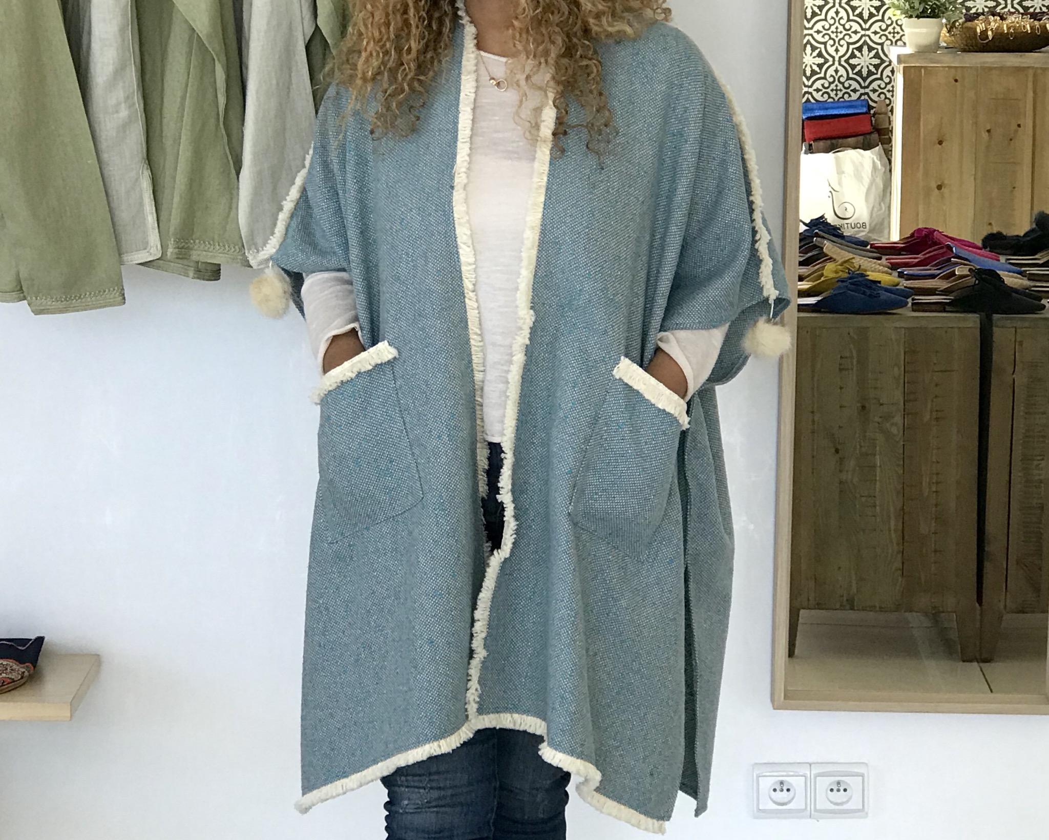 Winter Kimono tweed light blue