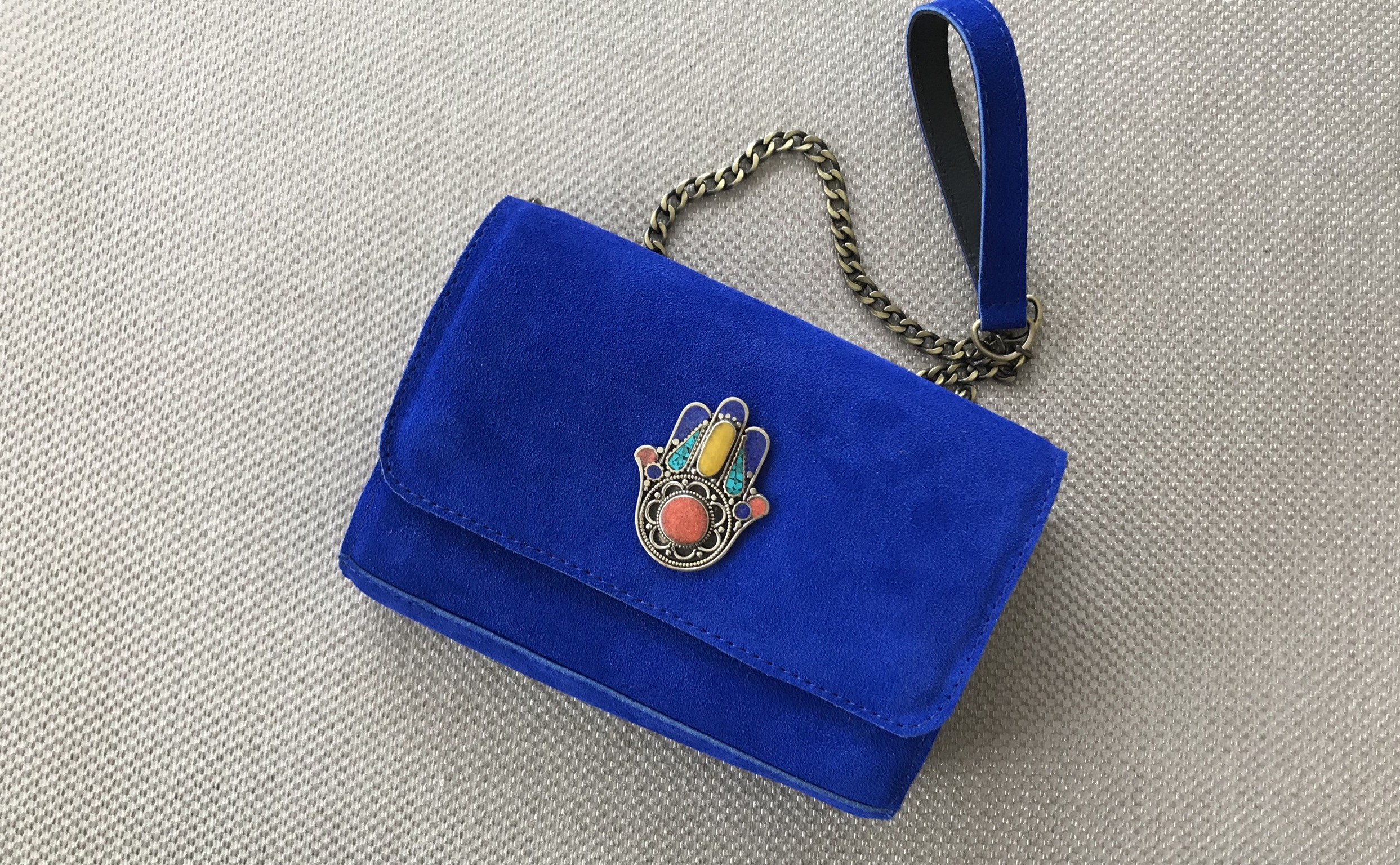 Jewelry bag suedeleather blue majorelle