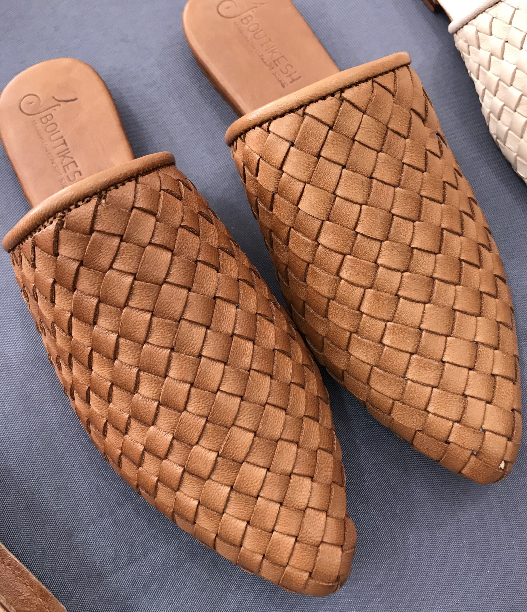 Slippers leather camel handmade