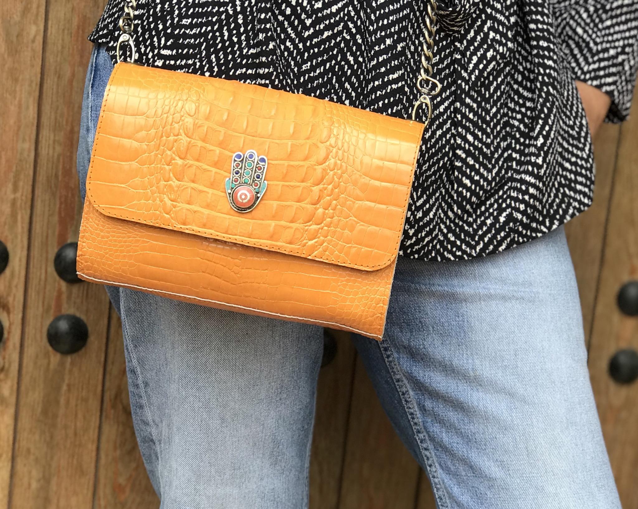 Bag leather croco orange with khmissa