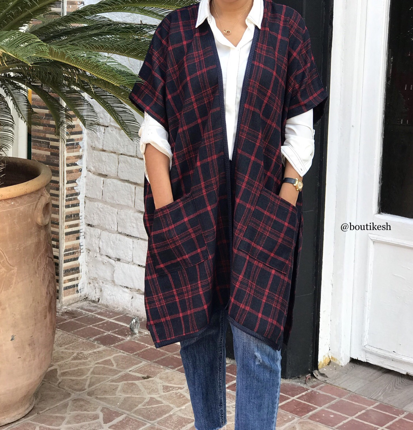 Kimono flanelle blue navy & red with pockets