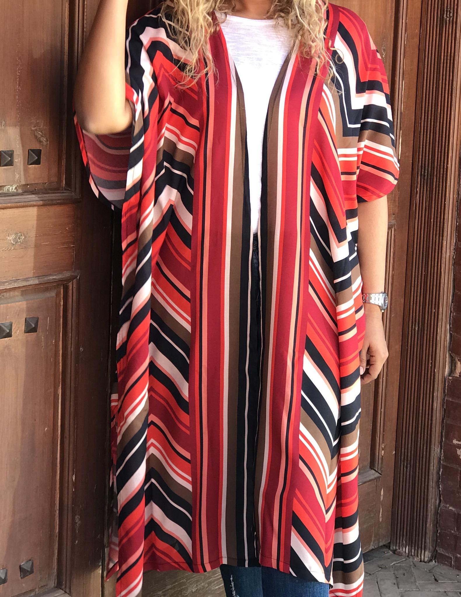 Kimono coton red orange black