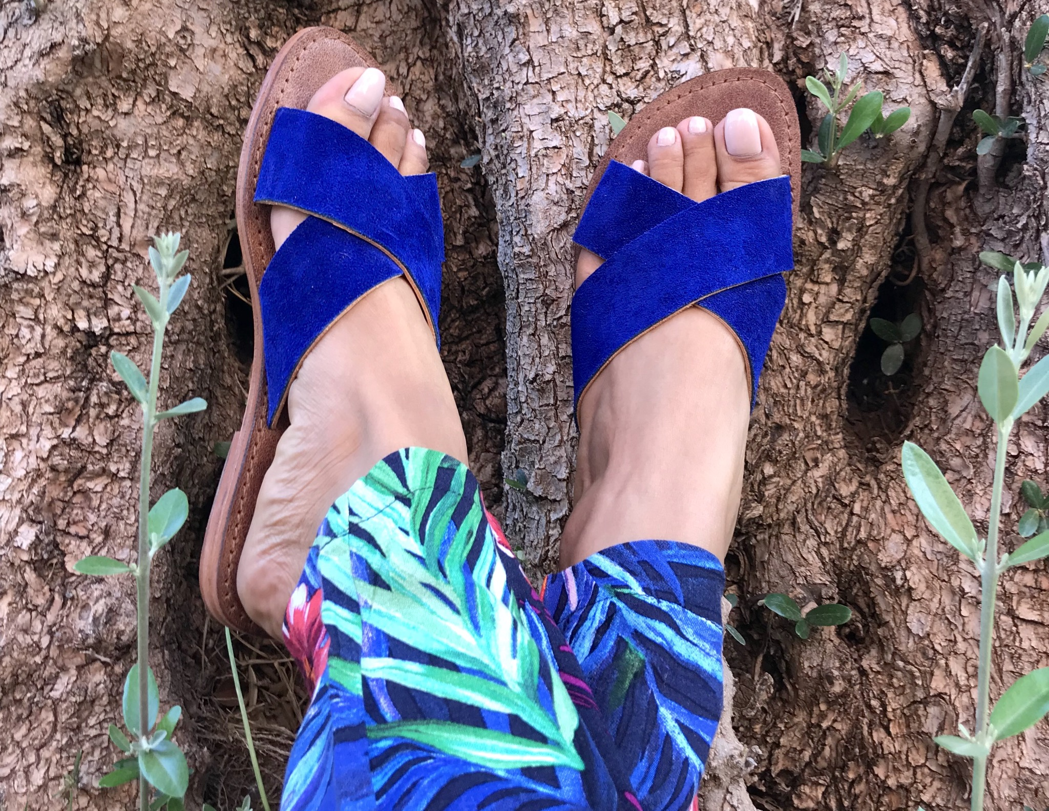 Sandals Leather & suede leather blue majorelle