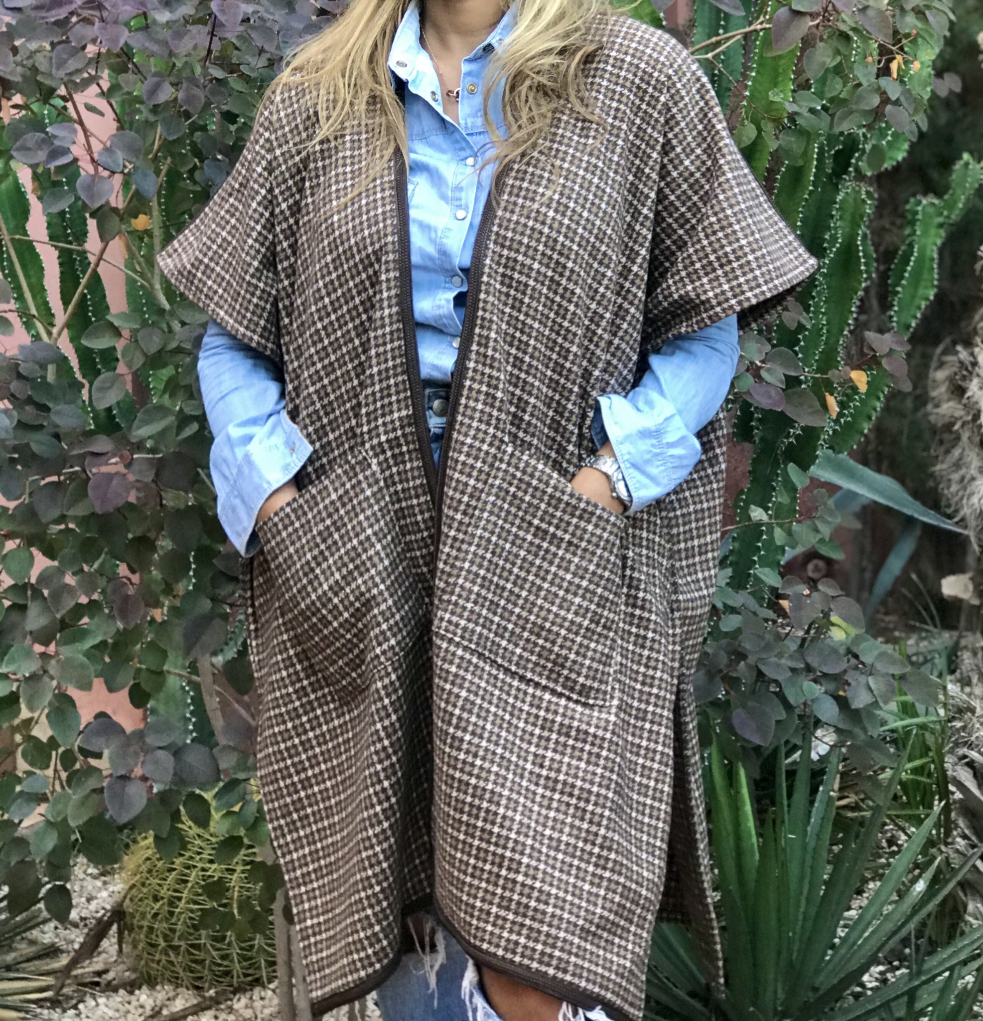 Kimono tweed brown beige with brown Sdida &pockets