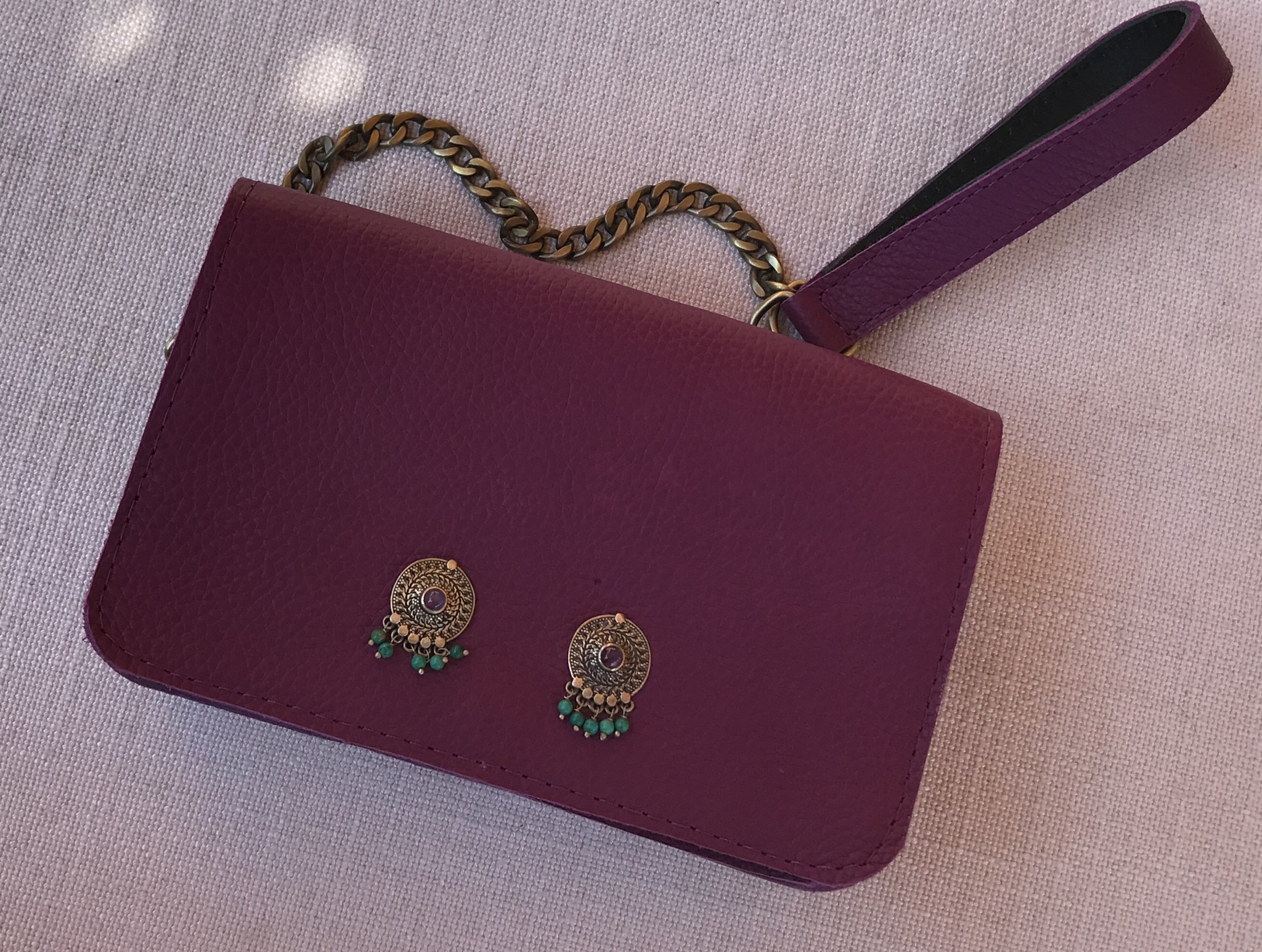 Mini bag jewelry leather purple