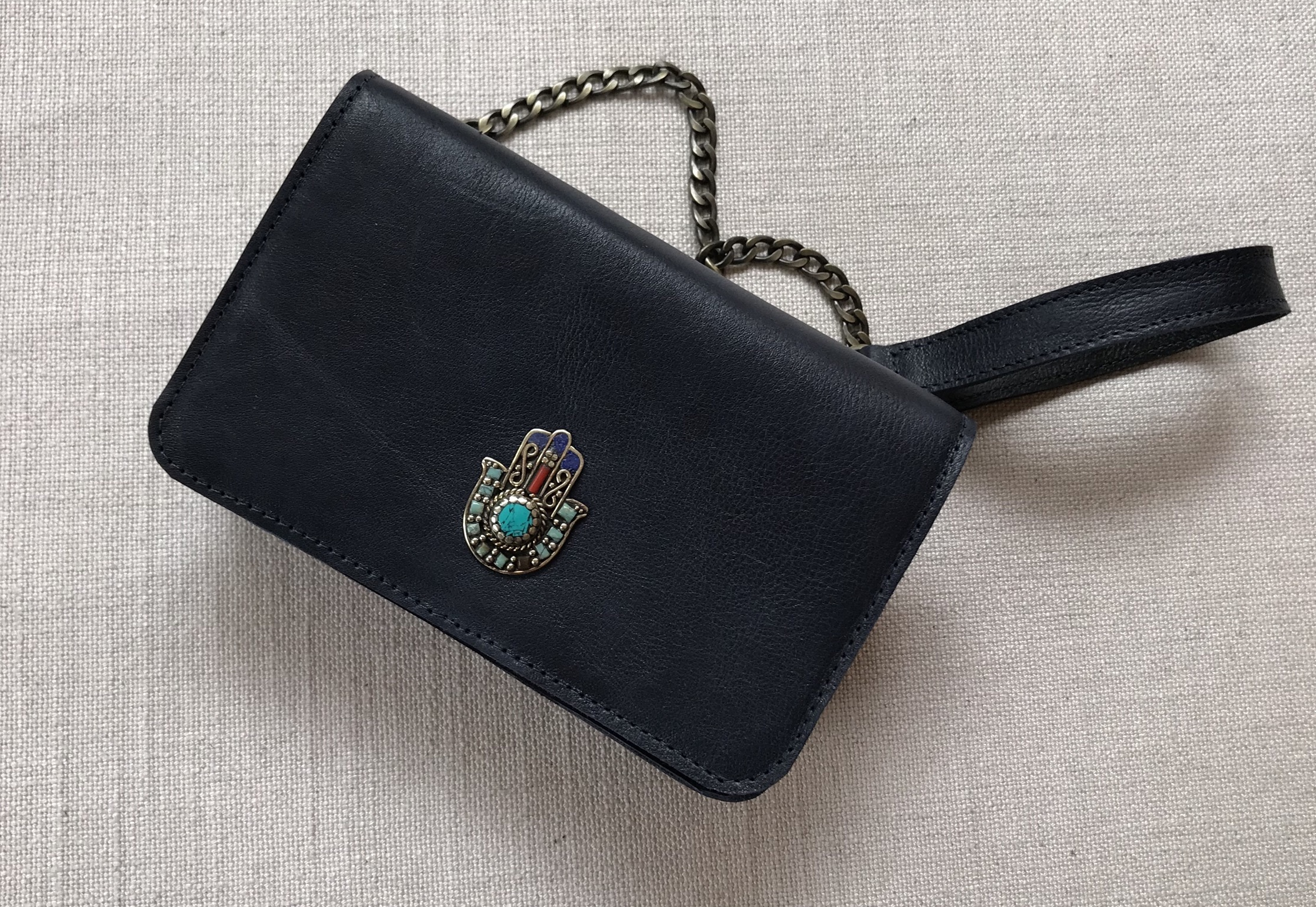 Bag mini leather blue navy with artisanal jewelry