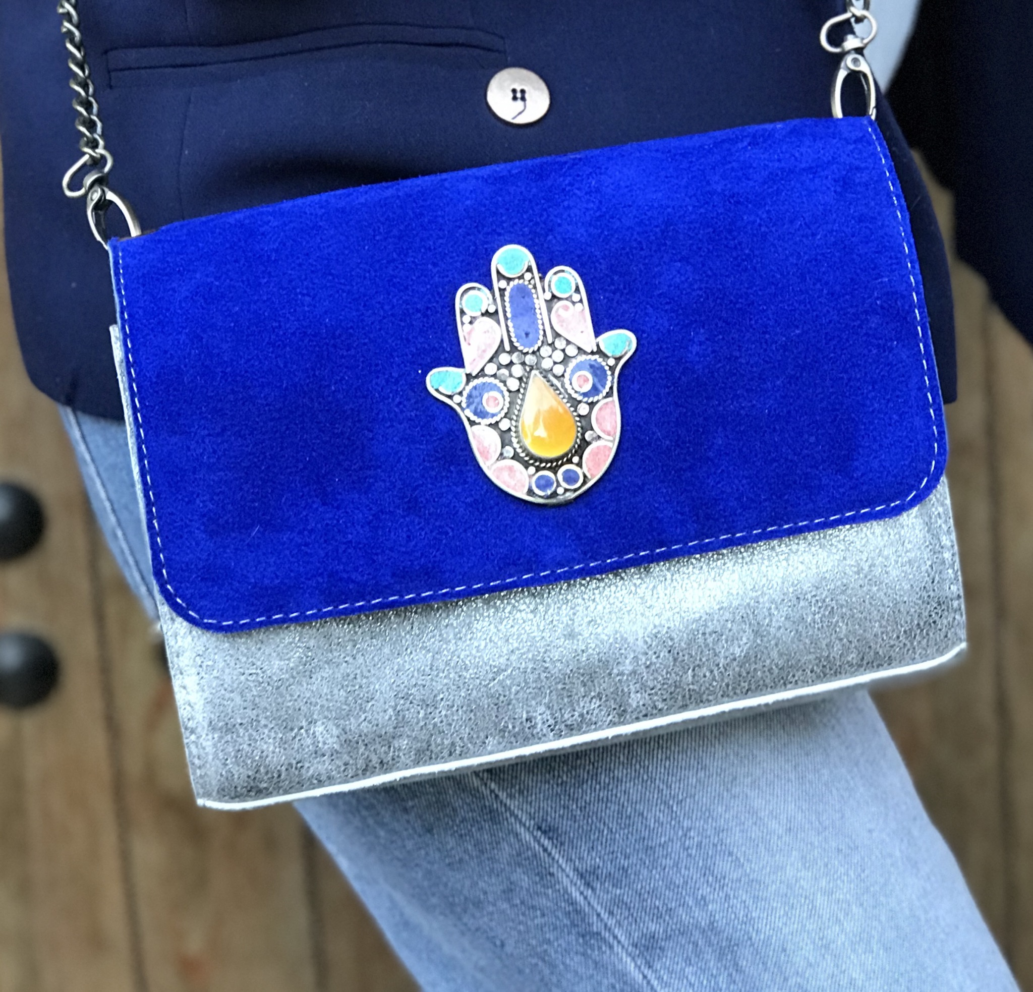 bag leather & suede leather blue majorelle & silver with khmissa