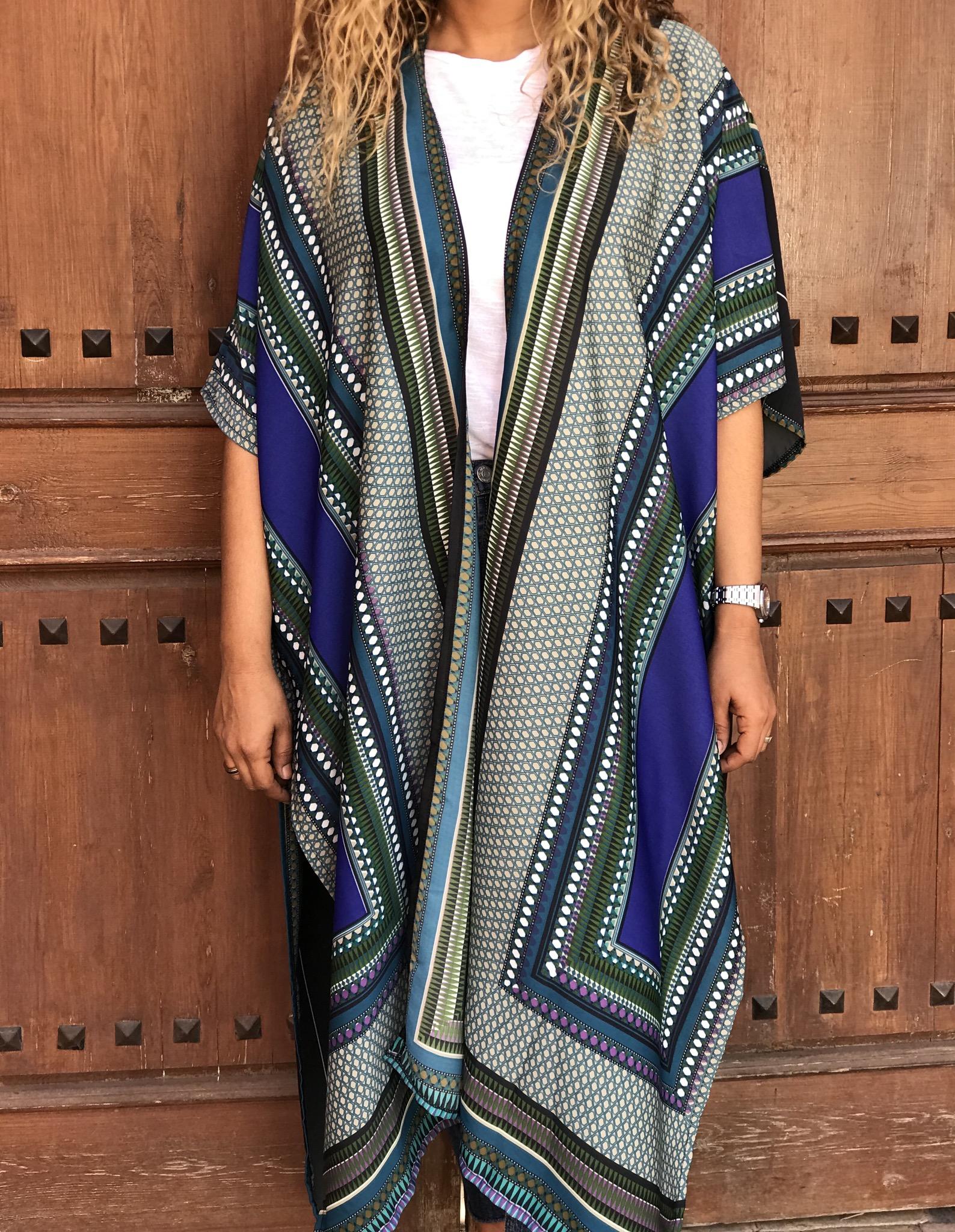 Kimono crêpe de Chine blue majorelle green purple cream