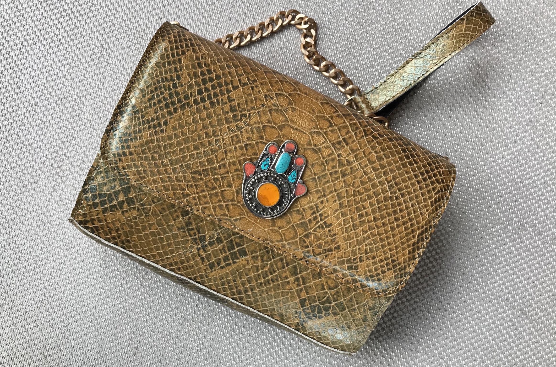 Berber jewelry bag leather croco Camel yellow