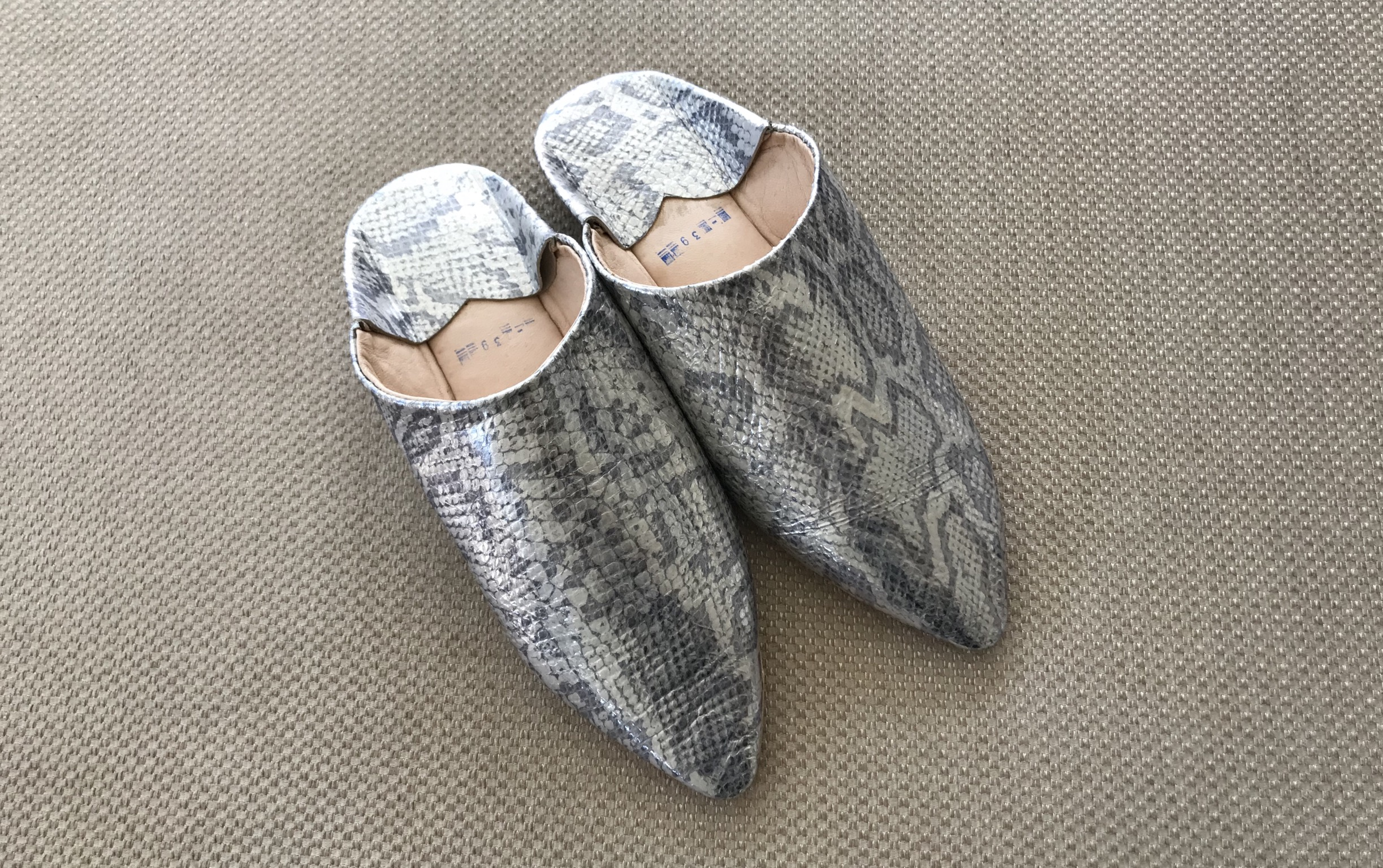 Slippers leather croco silver