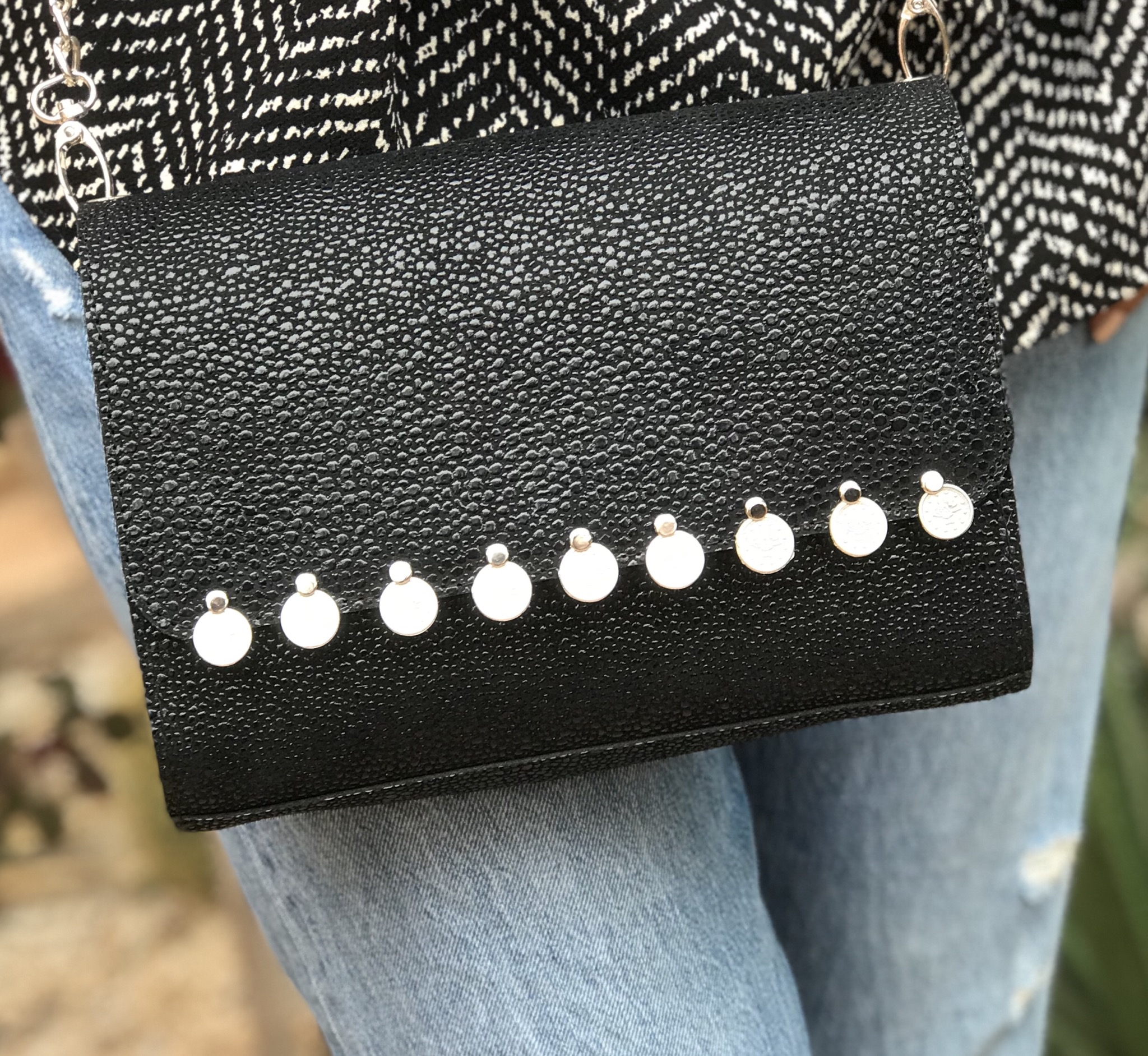bag jewelry learher caviar black with coins