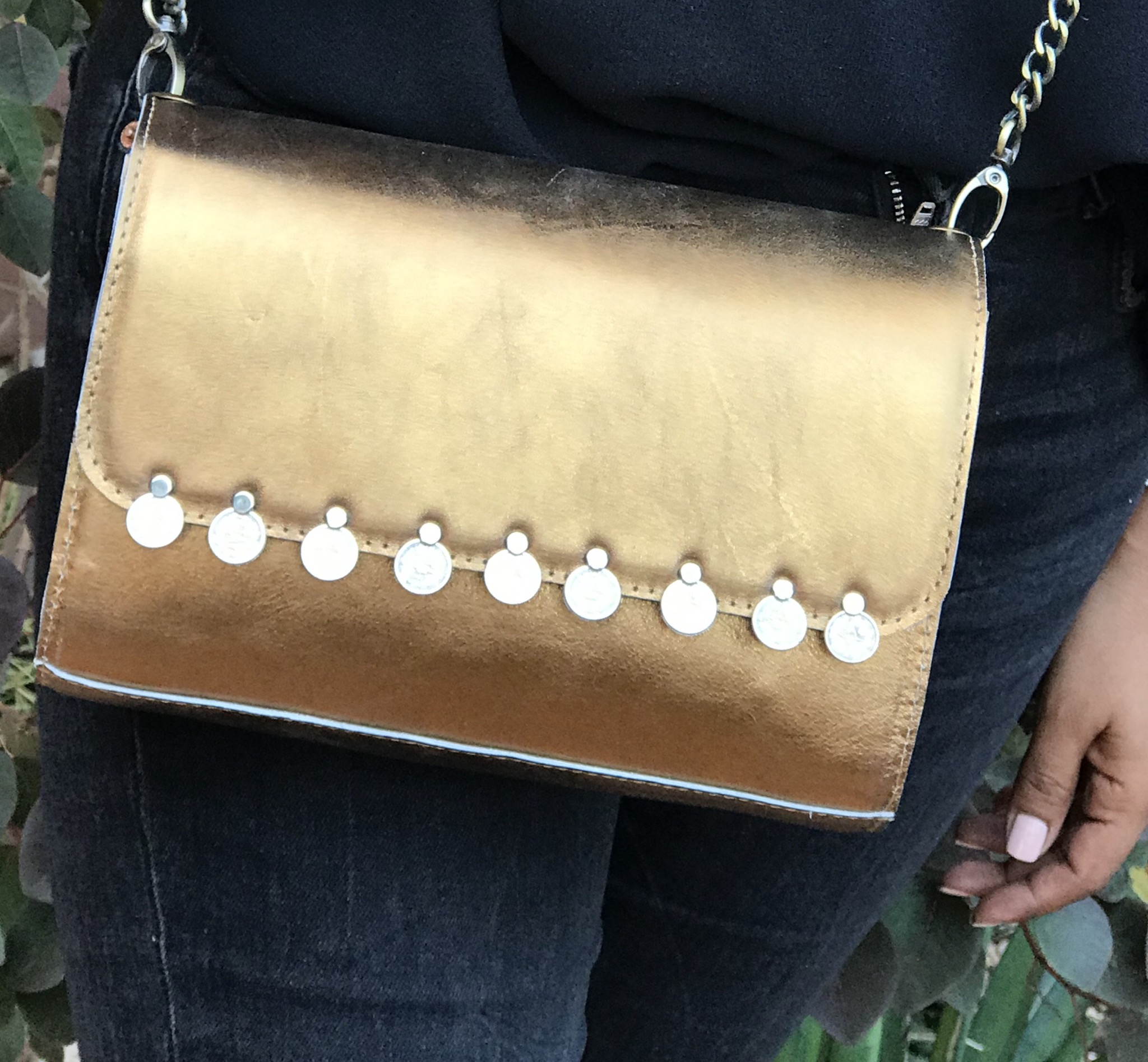 Bag leather gold with coins