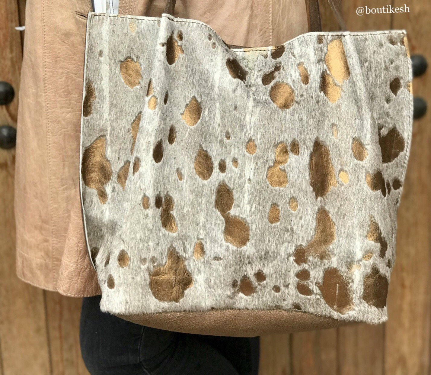 Bag tote Hairy leather gold beige with craquelé bronze back