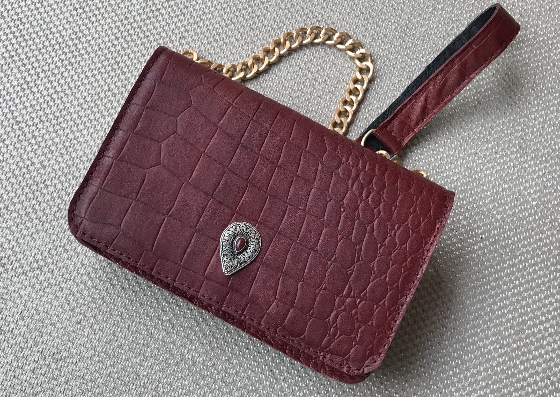 Mini jewelry bag leather burgundy croco
