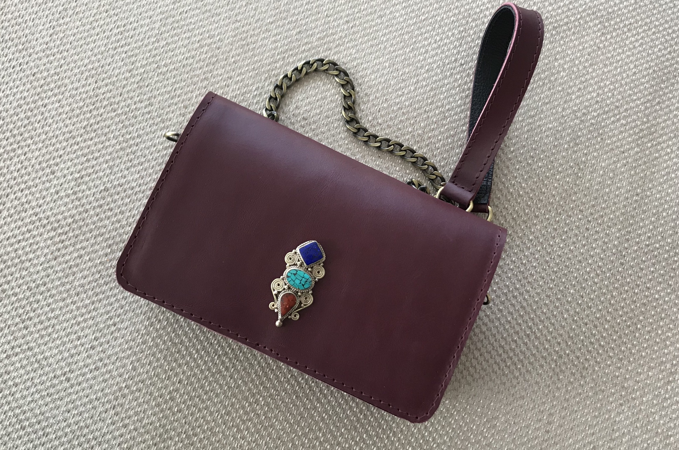 Mini jewelry bag leather burgundy