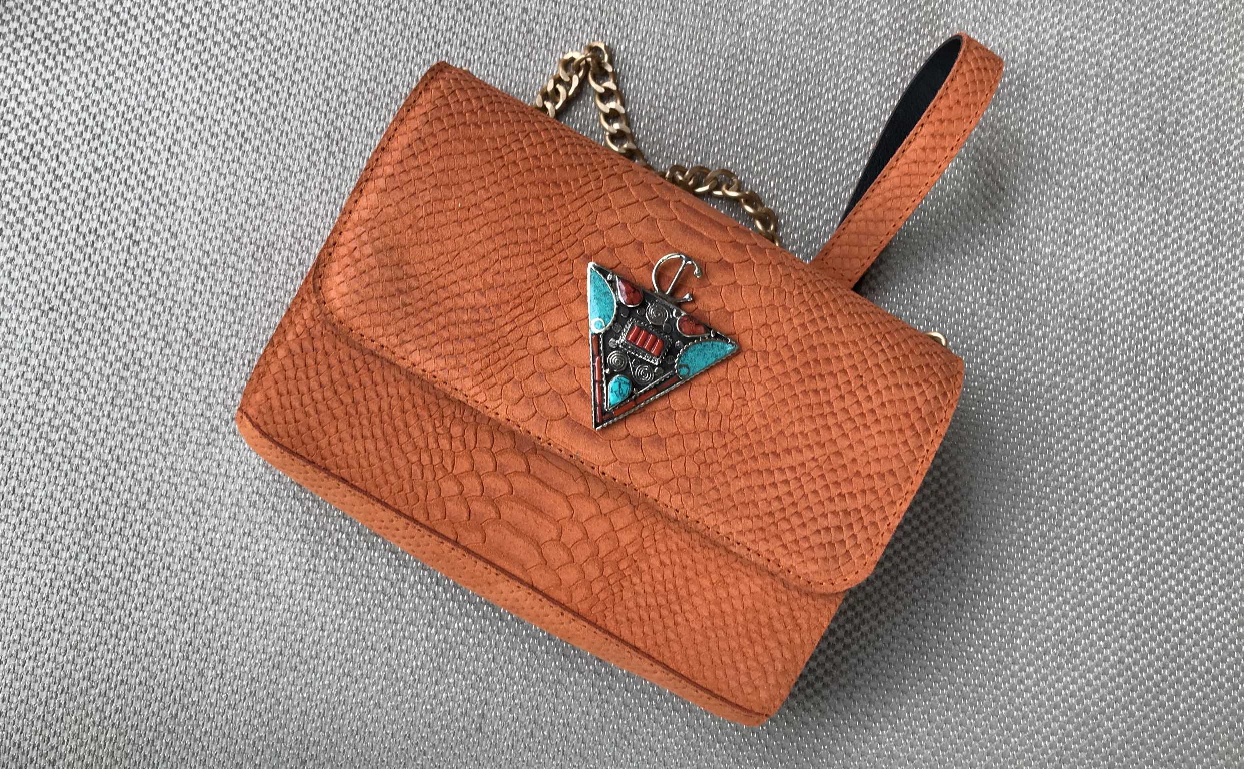 Jewelry bag leather croco orange