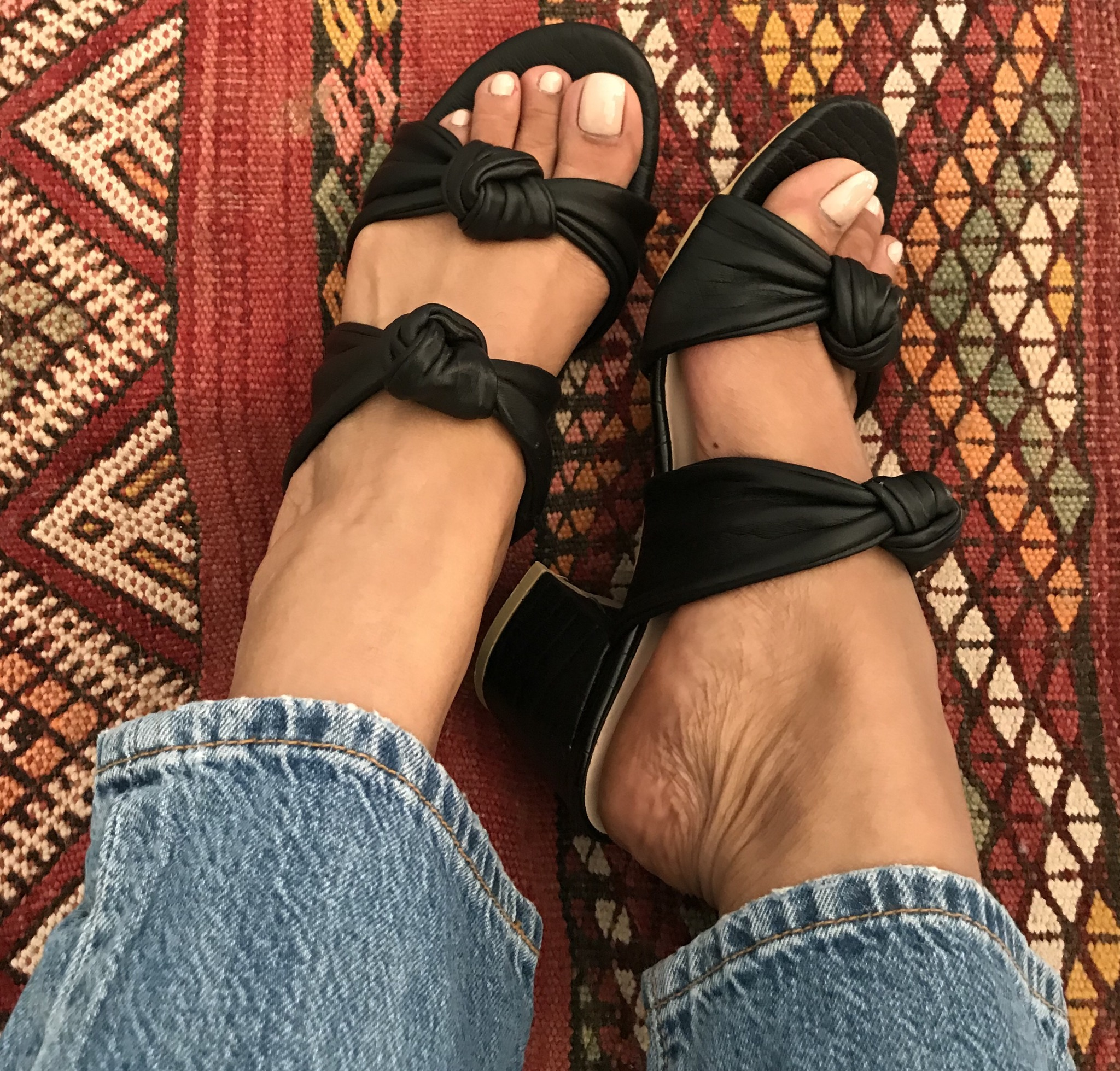 Sandals leather black with bows and heels