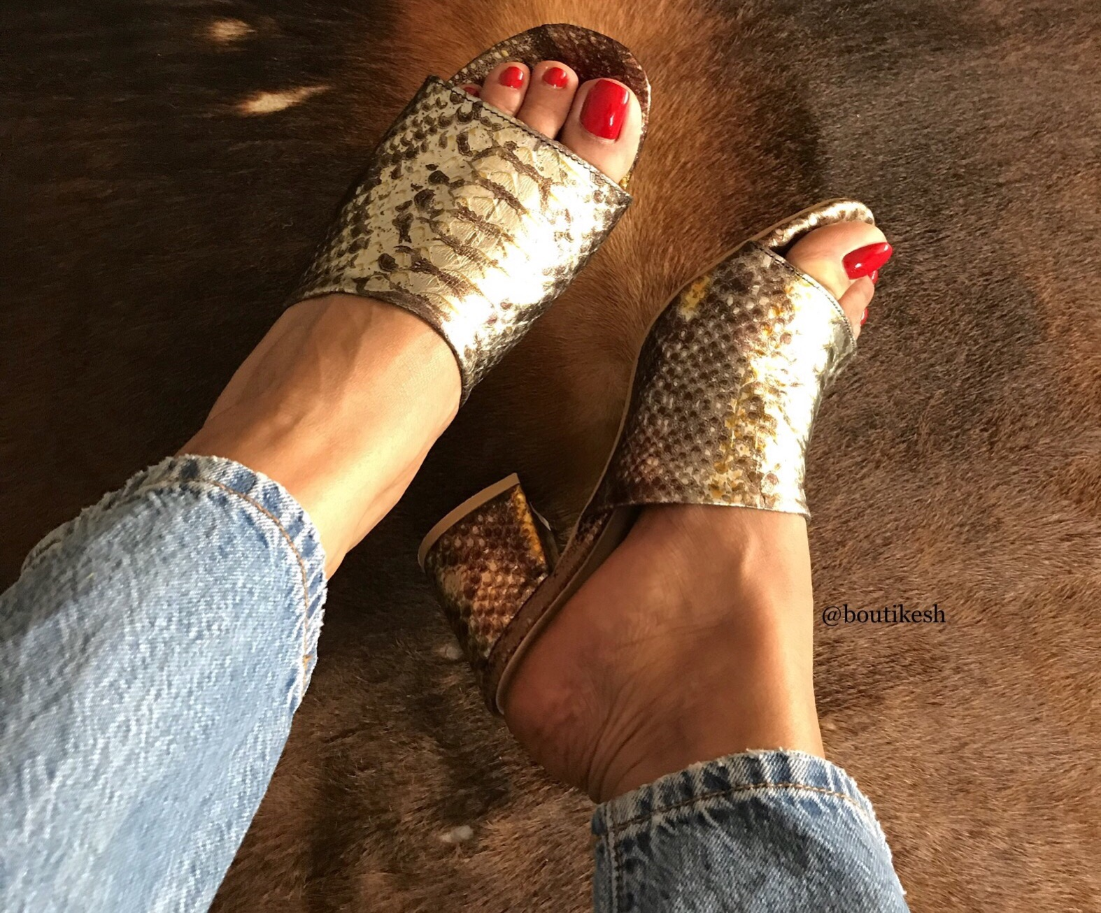 Sandals leather croco gold brown with heels