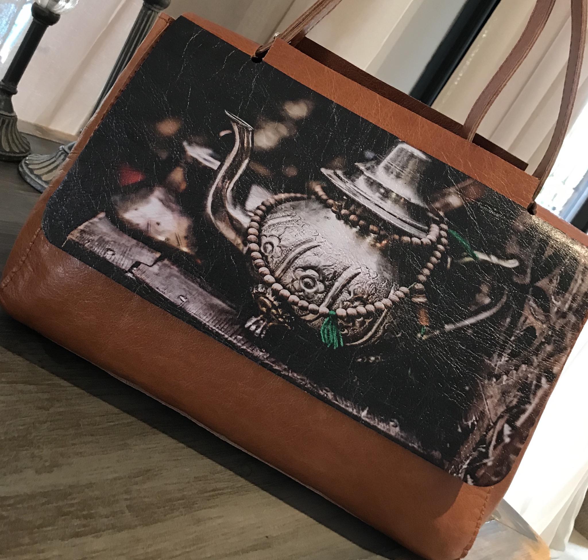 Big leather bag printed mint tea