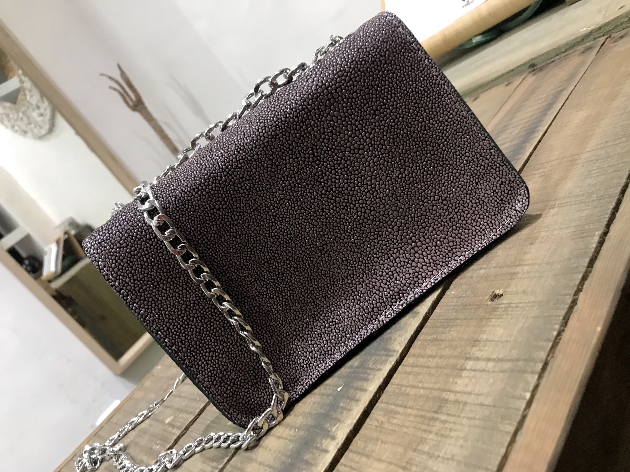 Mini bag leather caviar nude black with silver chain