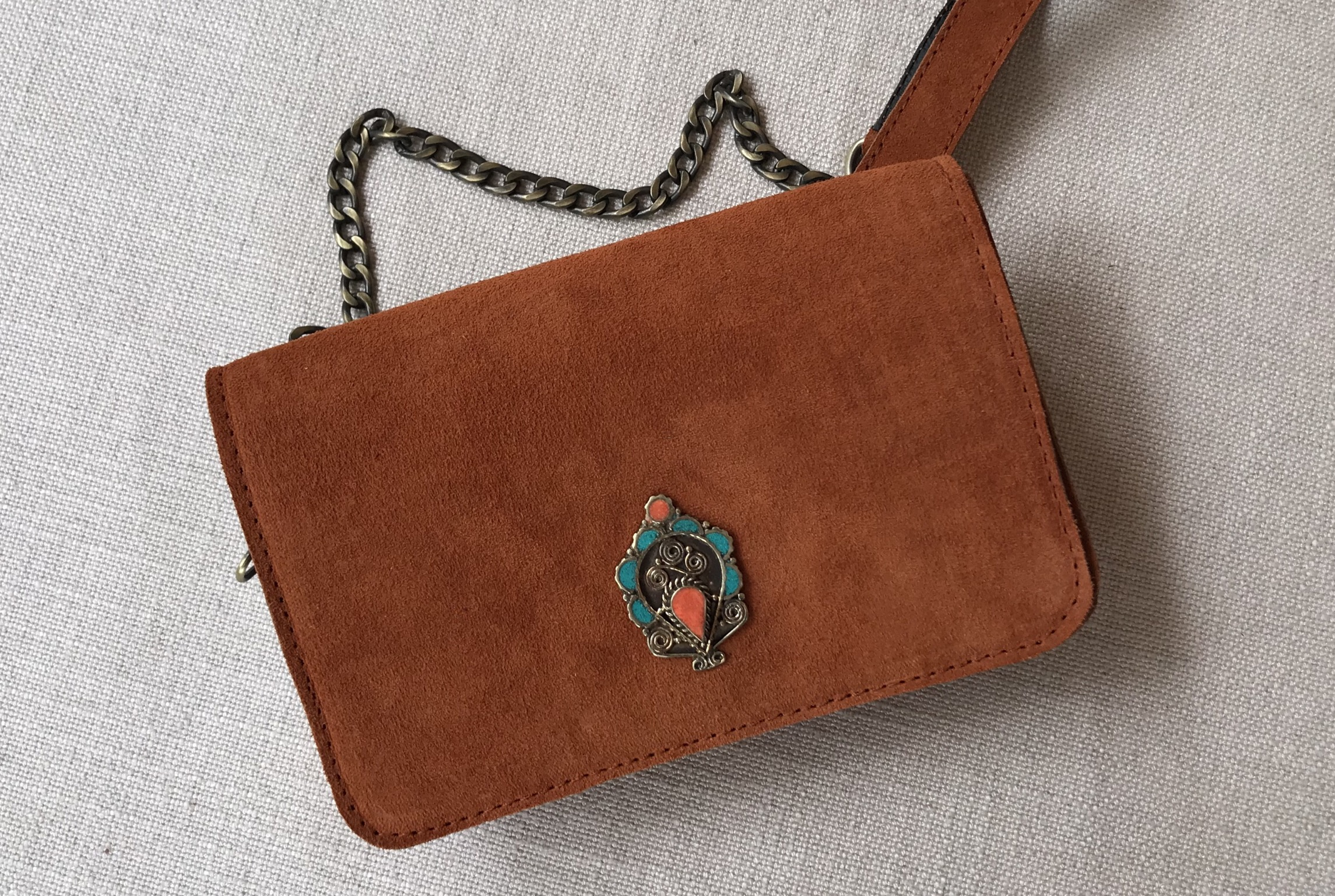 Bag mini suede leather orange with jewelry